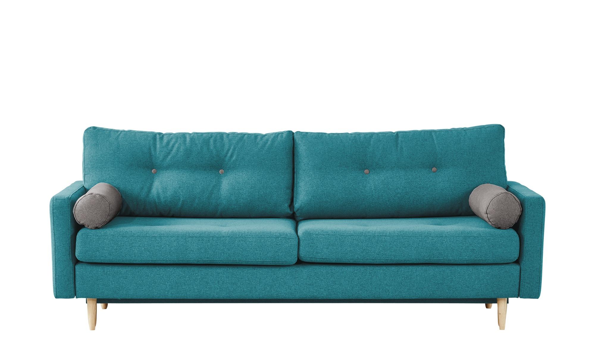 finya Design-Schlafsofa 3-sitzig türkis - Webstoff Pure ¦ türkis/petrol ¦ Maße (cm): B: 218 H: 85 T: 93 Polstermöbel > Sofas > 3-Sitzer - Höffner