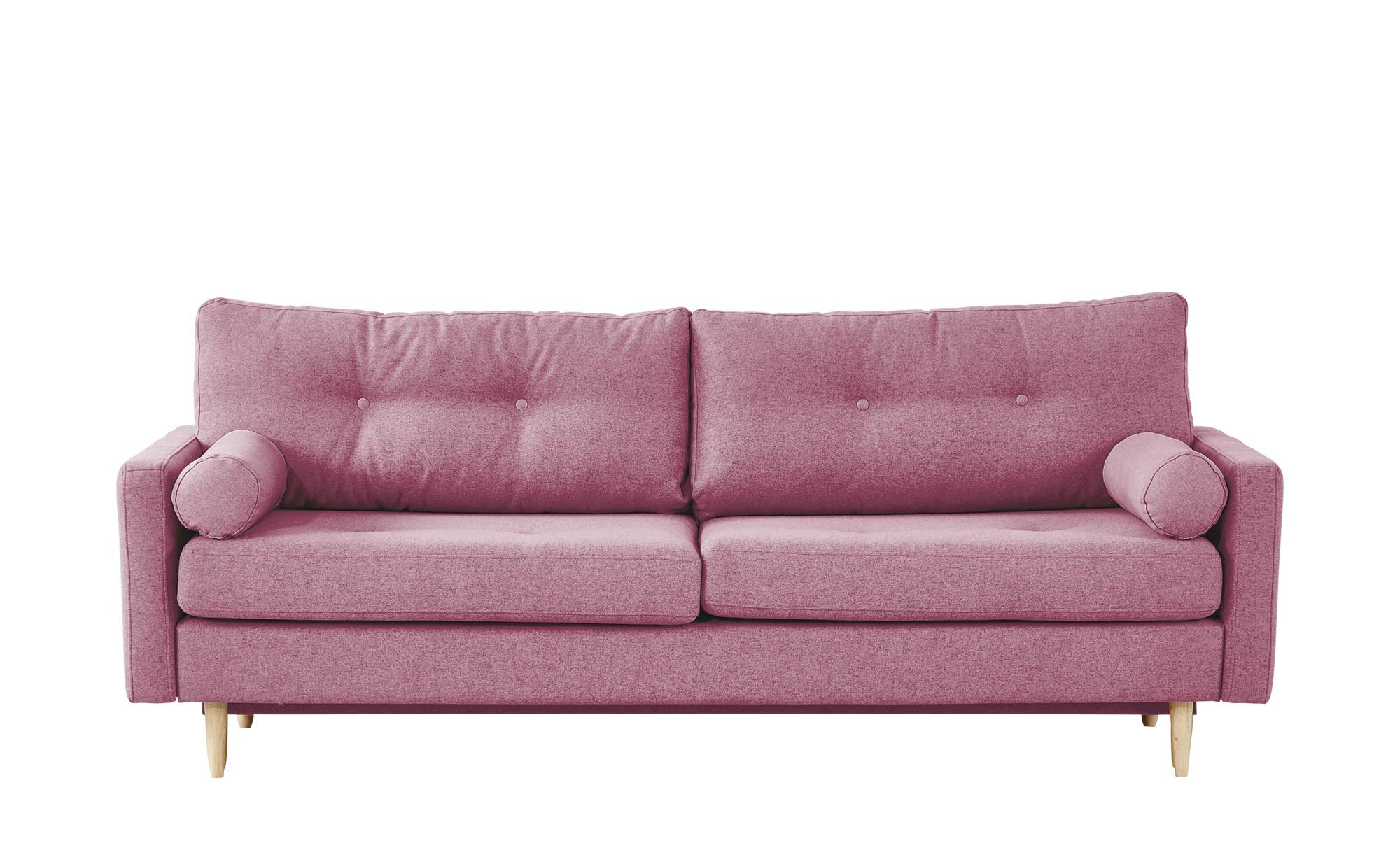 finya Design-Schlafsofa 3-sitzig rosa - Webstoff Pure ¦ rosa/pink ¦ Maße (cm): B: 218 H: 85 T: 93 Polstermöbel > Sofas > 3-Sitzer - Höffner