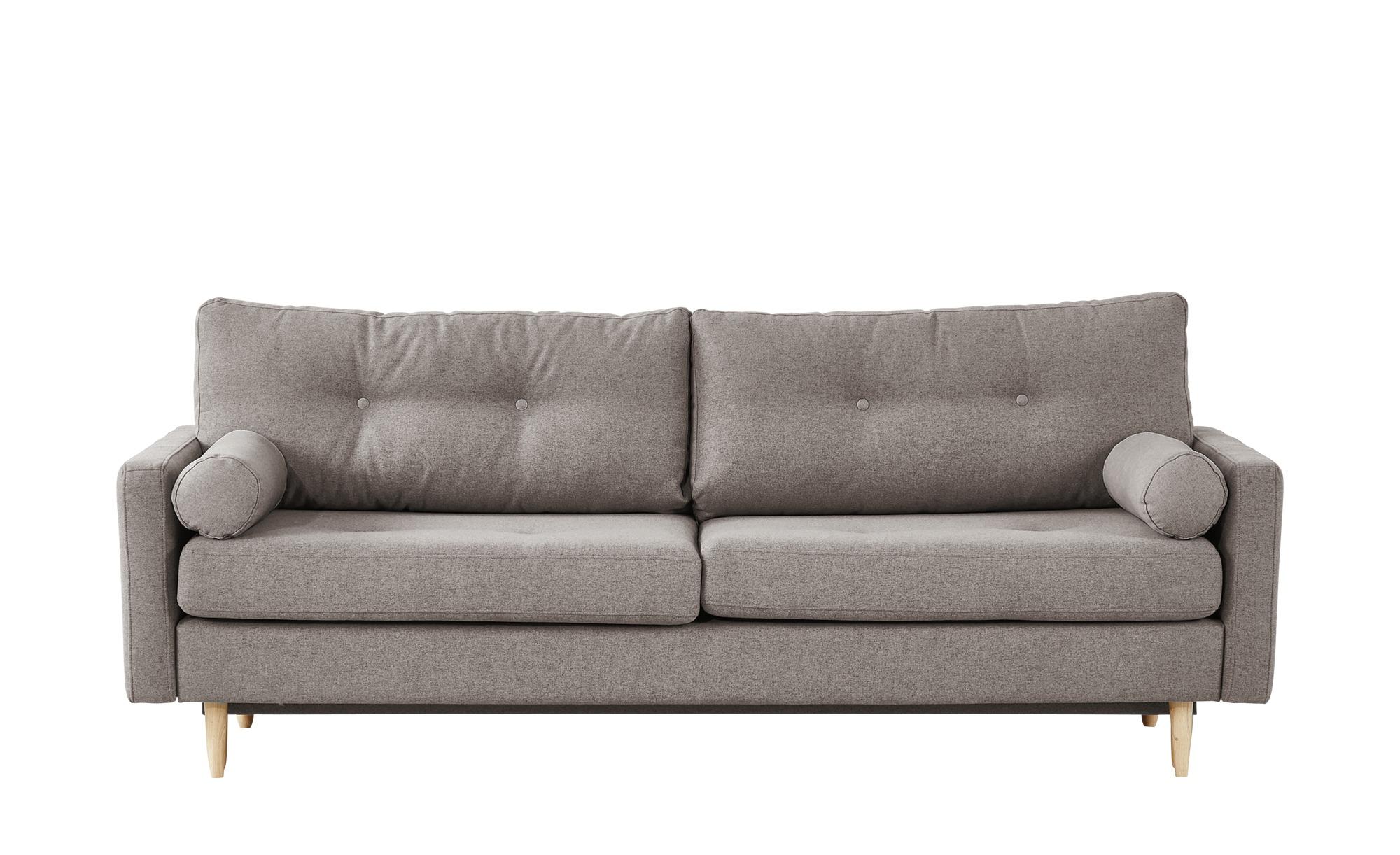 finya Design-Schlafsofa 3-sitzig grau-braun - Webstoff Pure ¦ Maße (cm): B: 218 H: 85 T: 93 Polstermöbel > Sofas > 3-Sitzer - Höffner