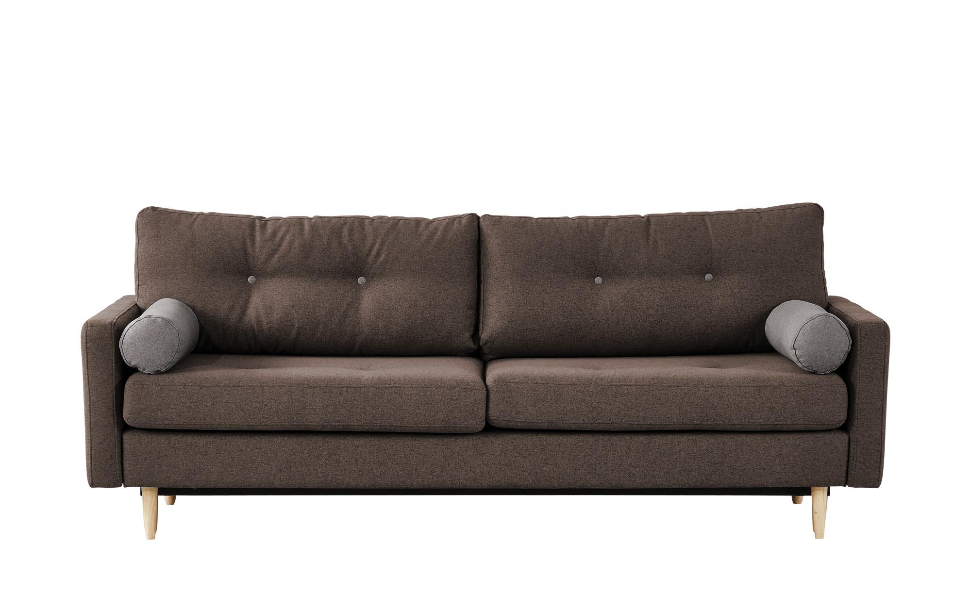 finya Design-Schlafsofa 3-sitzig braun - Webstoff Pure ¦ Maße (cm): B: 218 H: 85 T: 93 Polstermöbel > Sofas > 3-Sitzer - Höffner