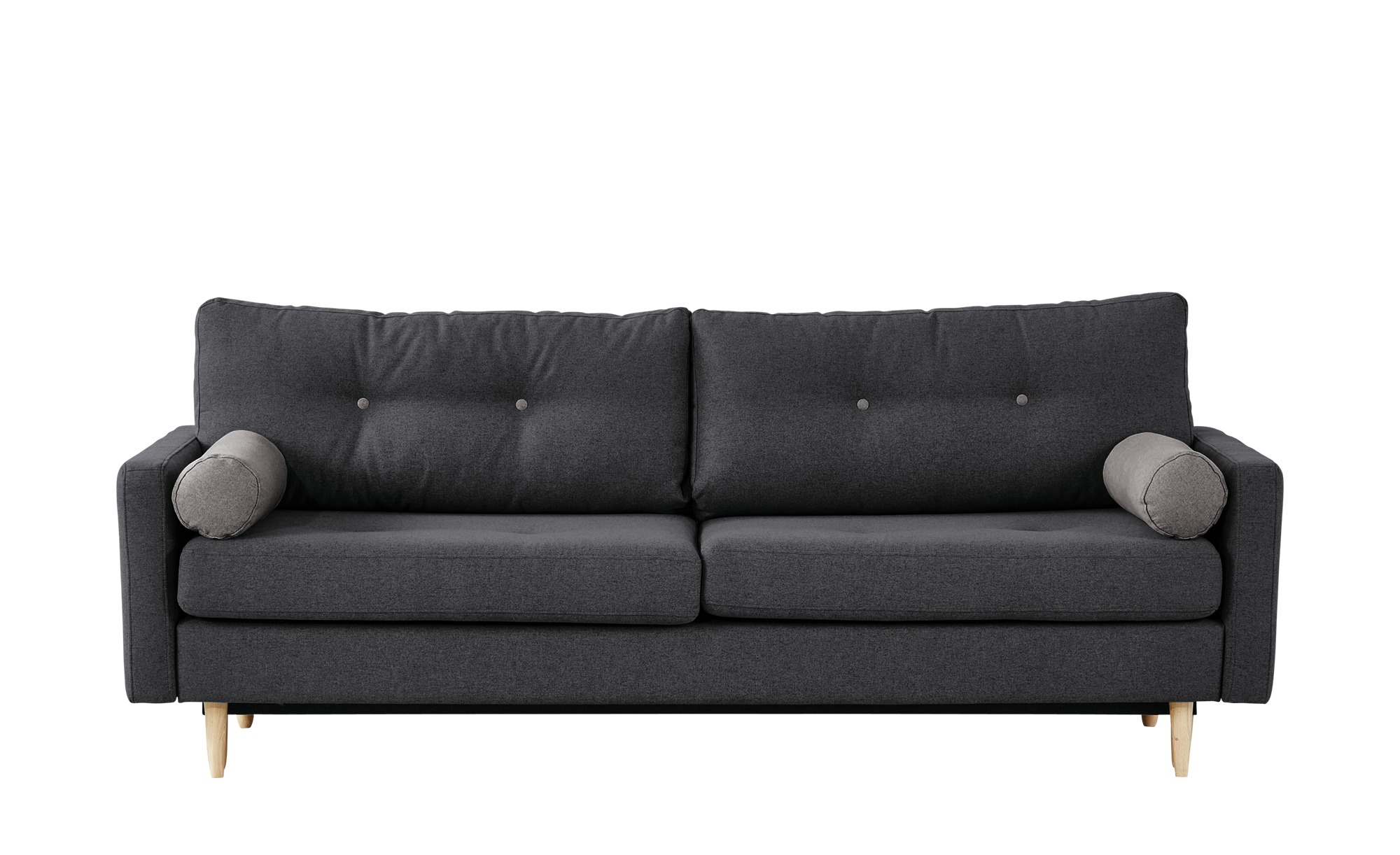 finya Design-Schlafsofa 3-sitzig dunkelgrau - Webstoff Pure ¦ Maße (cm): B: 218 H: 85 T: 93 Polstermöbel > Sofas > 3-Sitzer - Höffner