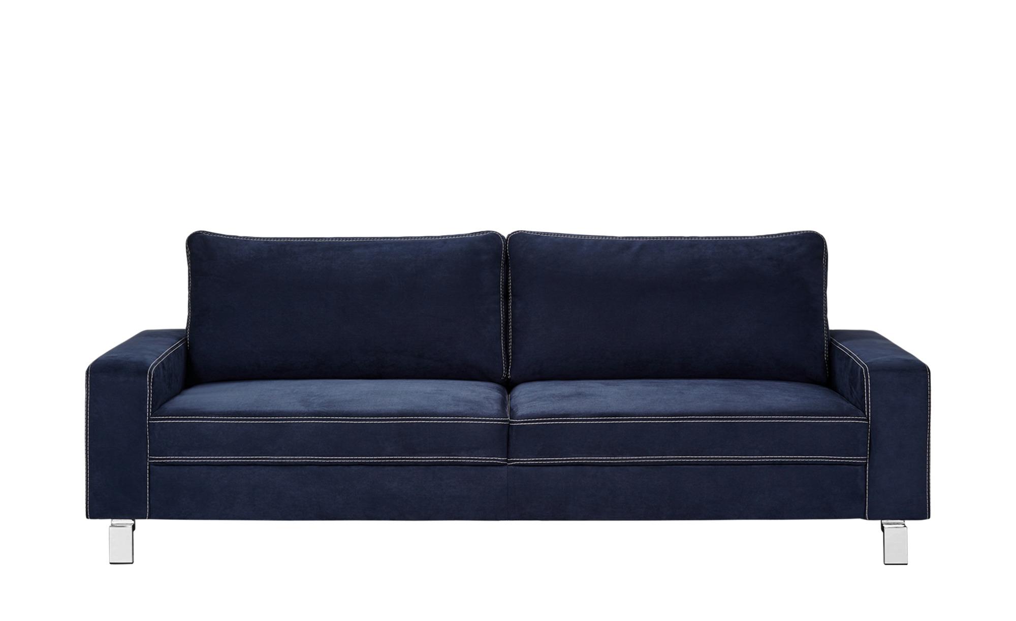 Sofa dunkelblau - Mikrofaser Coline ¦ blau ¦ Maße (cm): B: 218 H: 83 T: 97 Polstermöbel > Sofas > 3-Sitzer - Höffner