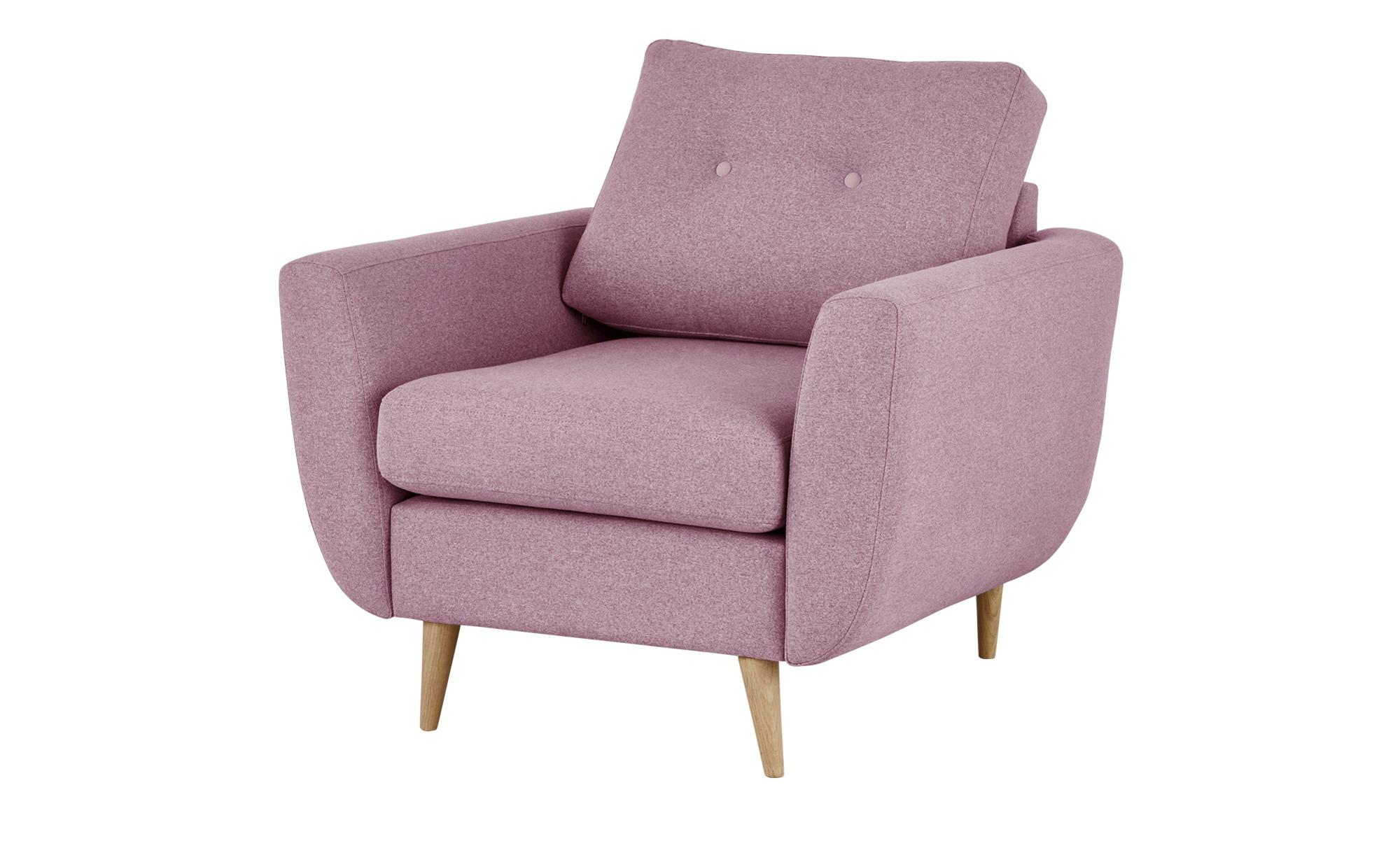 finya Retro-Sessel rosa - Stoff Harris ¦ rosa/pink ¦ Maße (cm): B: 88 H: 85 T: 85 Polstermöbel > Sessel > Polstersessel - Höffner