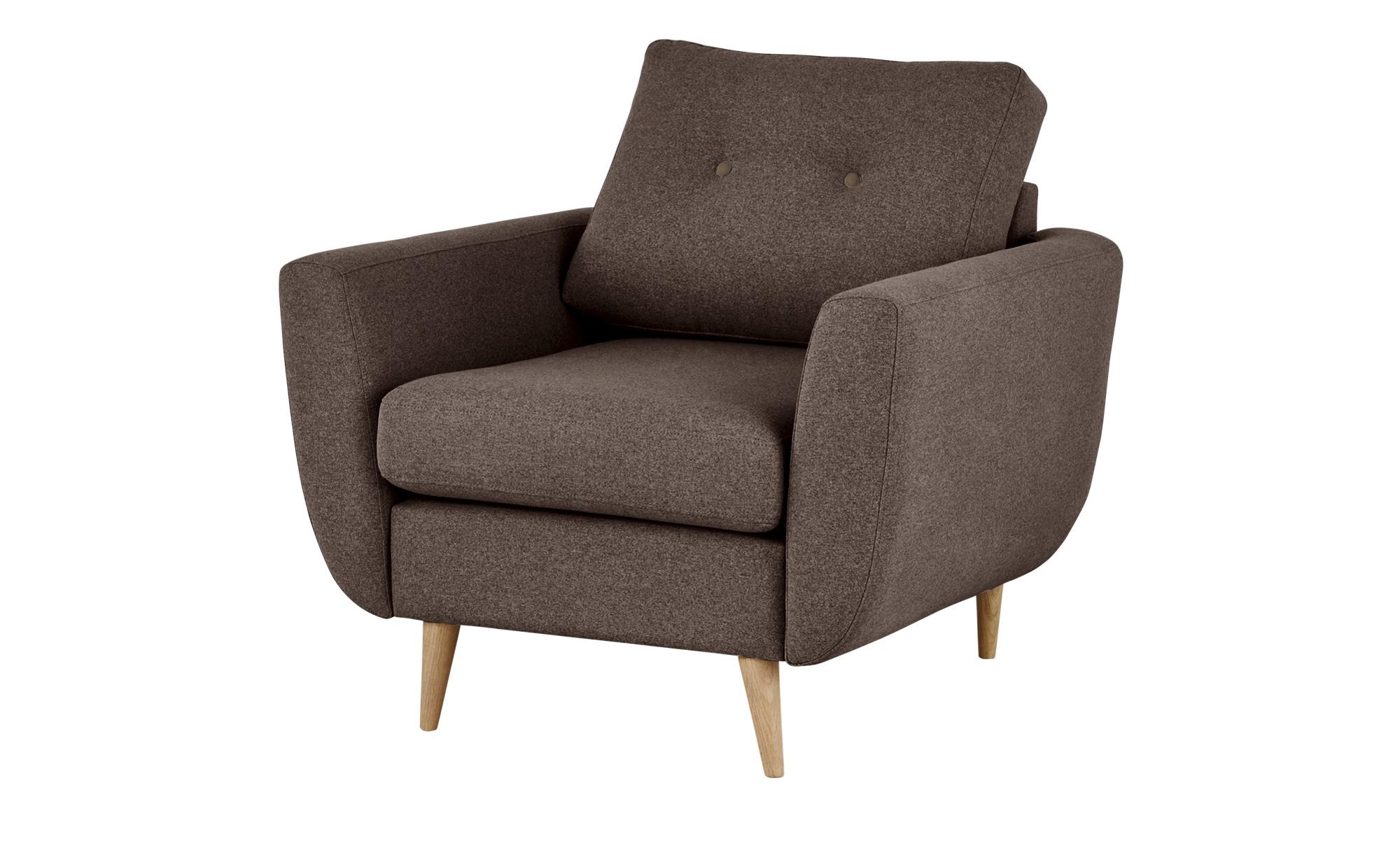 finya Retro-Sessel braun - Stoff Harris ¦ braun ¦ Maße (cm): B: 88 H: 85 T: 85 Polstermöbel > Sessel > Polstersessel - Höffner