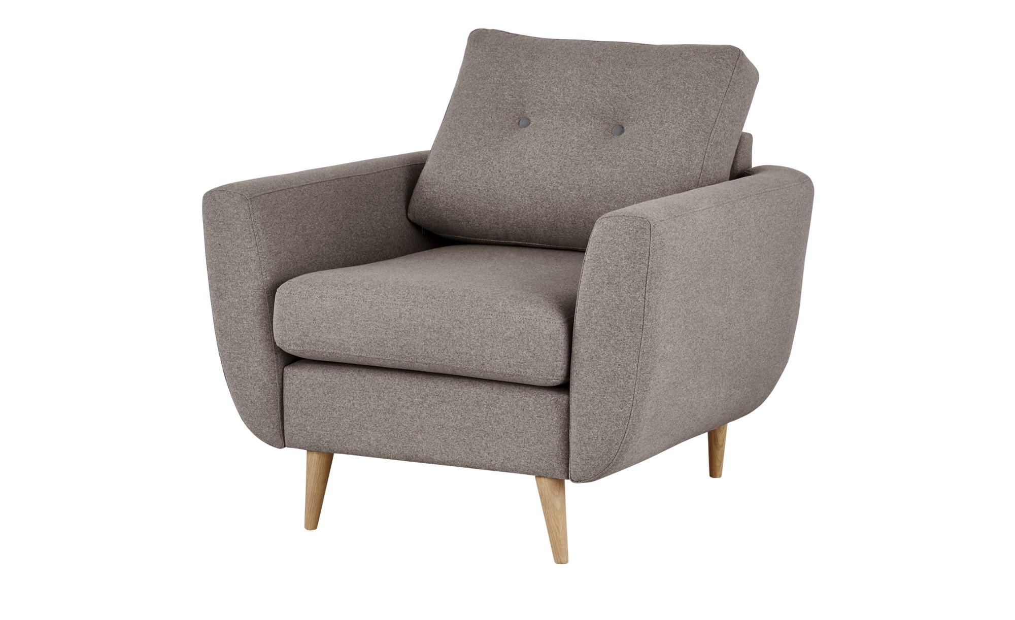 finya Retro-Sessel beige - Stoff Harris ¦ grau ¦ Maße (cm): B: 88 H: 85 T: 85 Polstermöbel > Sessel > Polstersessel - Höffner
