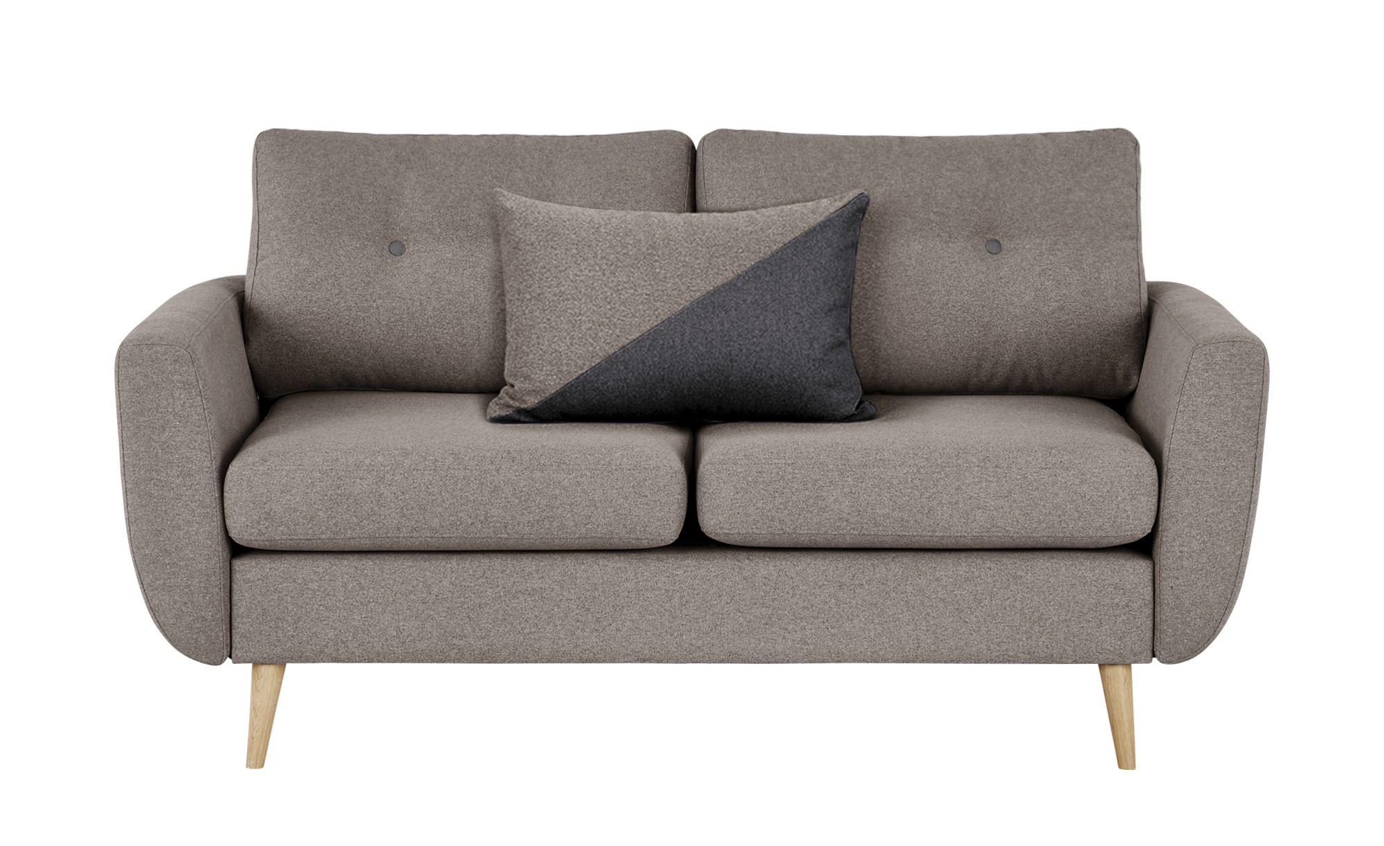 finya Sofa grau-braun - Webstoff Harris ¦ grau ¦ Maße (cm): B: 161 H: 85 T: 92 Polstermöbel > Sofas > 2-Sitzer - Höffner