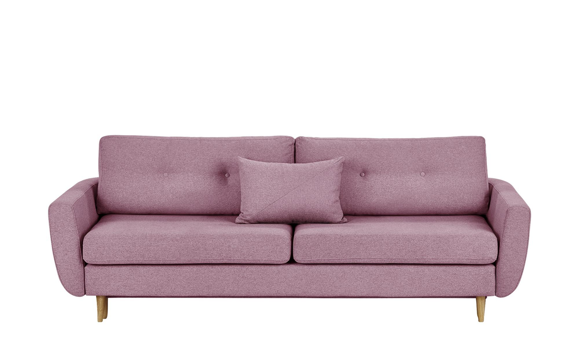 finya Schlafsofa, 3-sitzig pink - Webstoff Harris ¦ rosa/pink ¦ Maße (cm): B: 231 H: 85 T: 92 Polstermöbel > Sofas > 3-Sitzer - Höffner