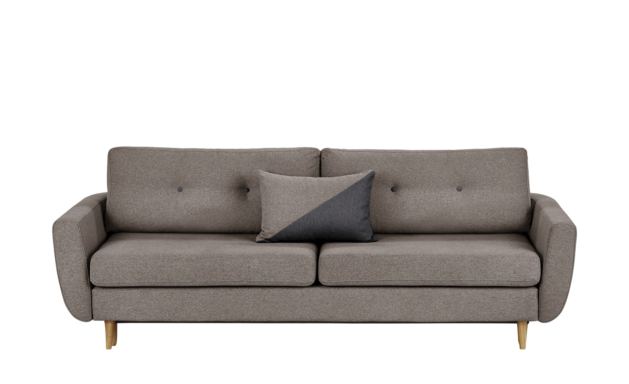 finya Schlafsofa, 3-sitzig grau - Webstoff Harris ¦ Maße (cm): B: 231 H: 85 T: 92 Polstermöbel > Sofas > 3-Sitzer - Höffner