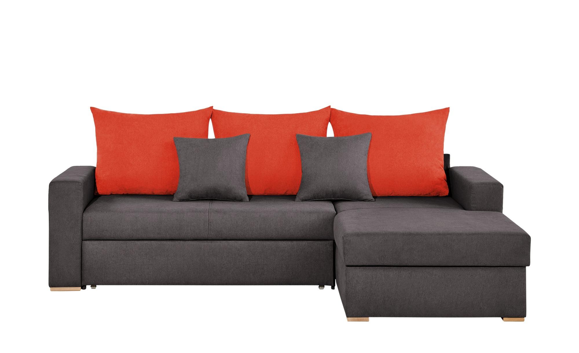 smart Ecksofa braun/orangerot - Flachgewebe Anna ¦ orange ¦ Maße (cm): H: 65 Polstermöbel > Sofas > Ecksofas - Höffner