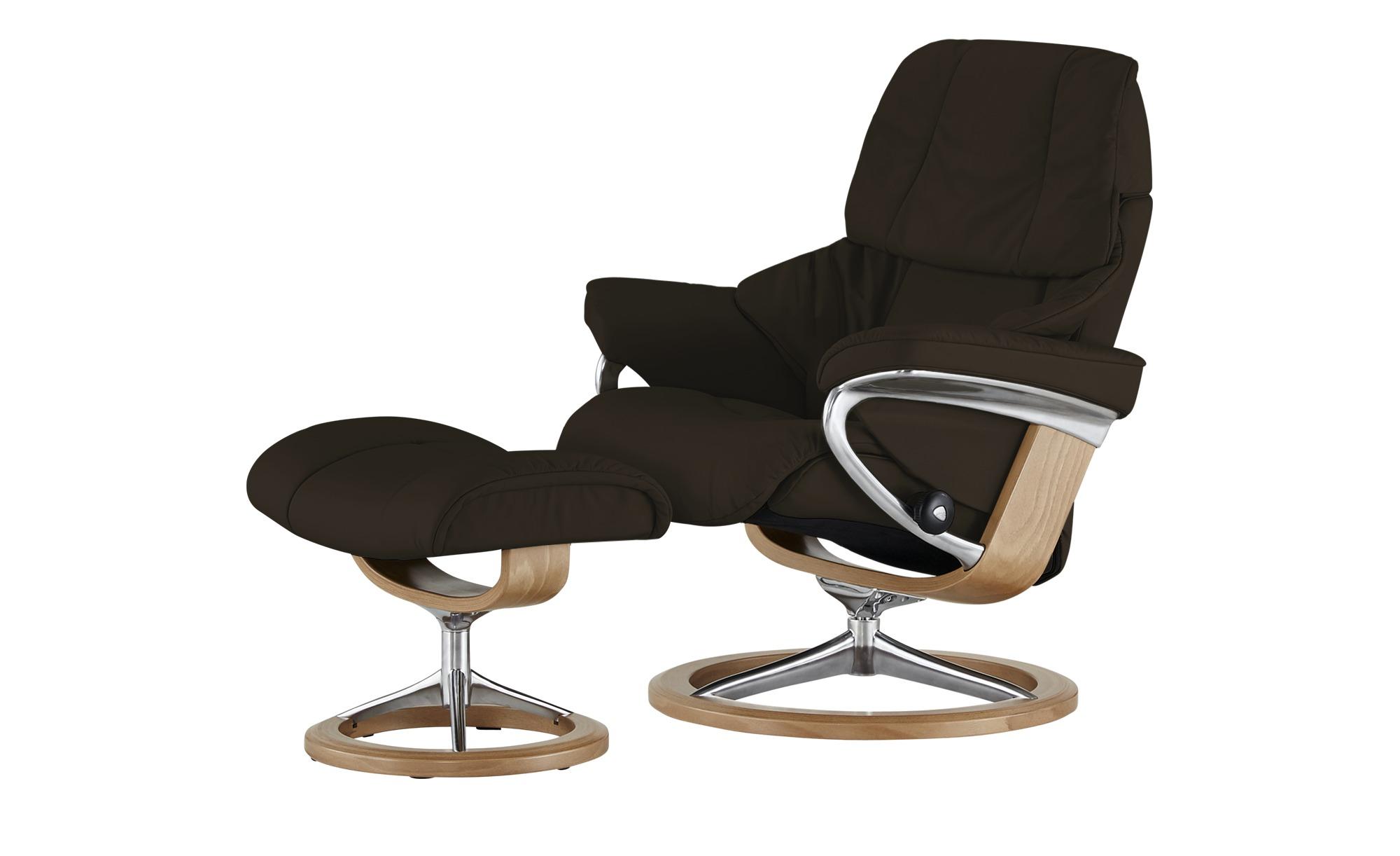 Stressless Relaxsessel mit Hocker braun - Leder Reno M ¦ braun ¦ Maße (cm): B: 83 H: 110 T: 76 Polstermöbel > Sessel > Fernsehsessel - Höffner