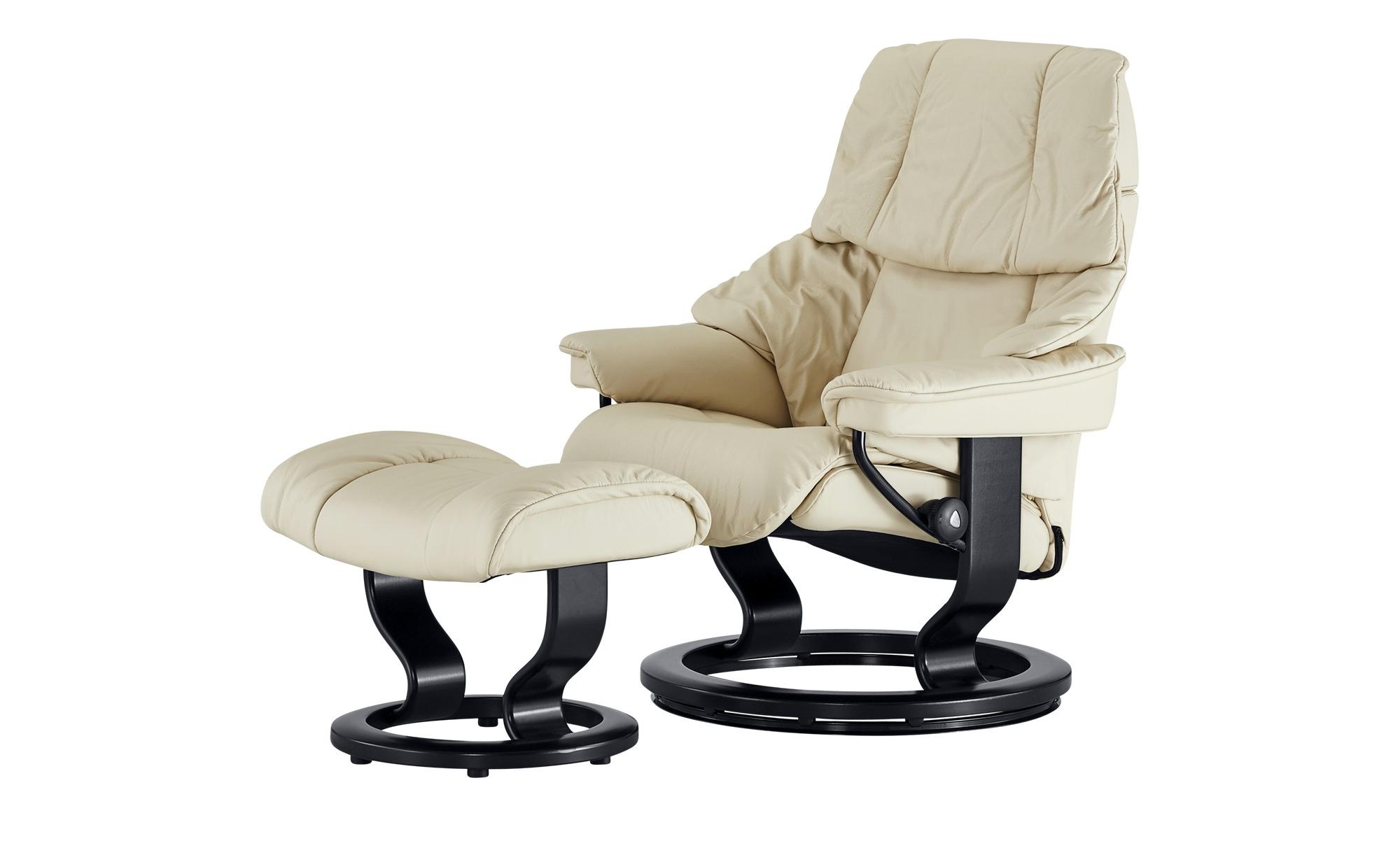 Stressless Relaxsessel mit Hocker creme - Leder Reno S ¦ creme ¦ Maße (cm): B: 75 H: 106 T: 75 Polstermöbel > Sessel > Fernsehsessel - Höffner