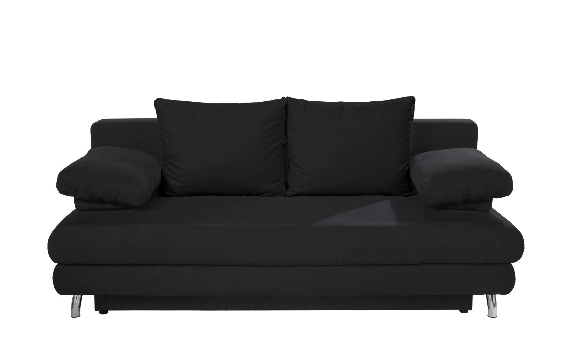 Schlafsofa schwarz - Webstoff Calina ¦ schwarz ¦ Maße (cm): B: 205 H: 80 T: 100 Polstermöbel > Sofas > 2-Sitzer - Höffner