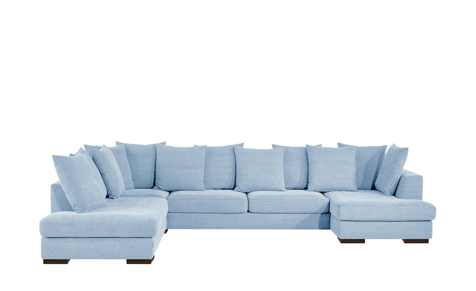 SOHO Wohnlandschaft hellblau - Flachgewebe Paulina ¦ blau ¦ Maße (cm): B: 386 T: 156 Polstermöbel > Sofas > Wohnlandschaften - Höffner