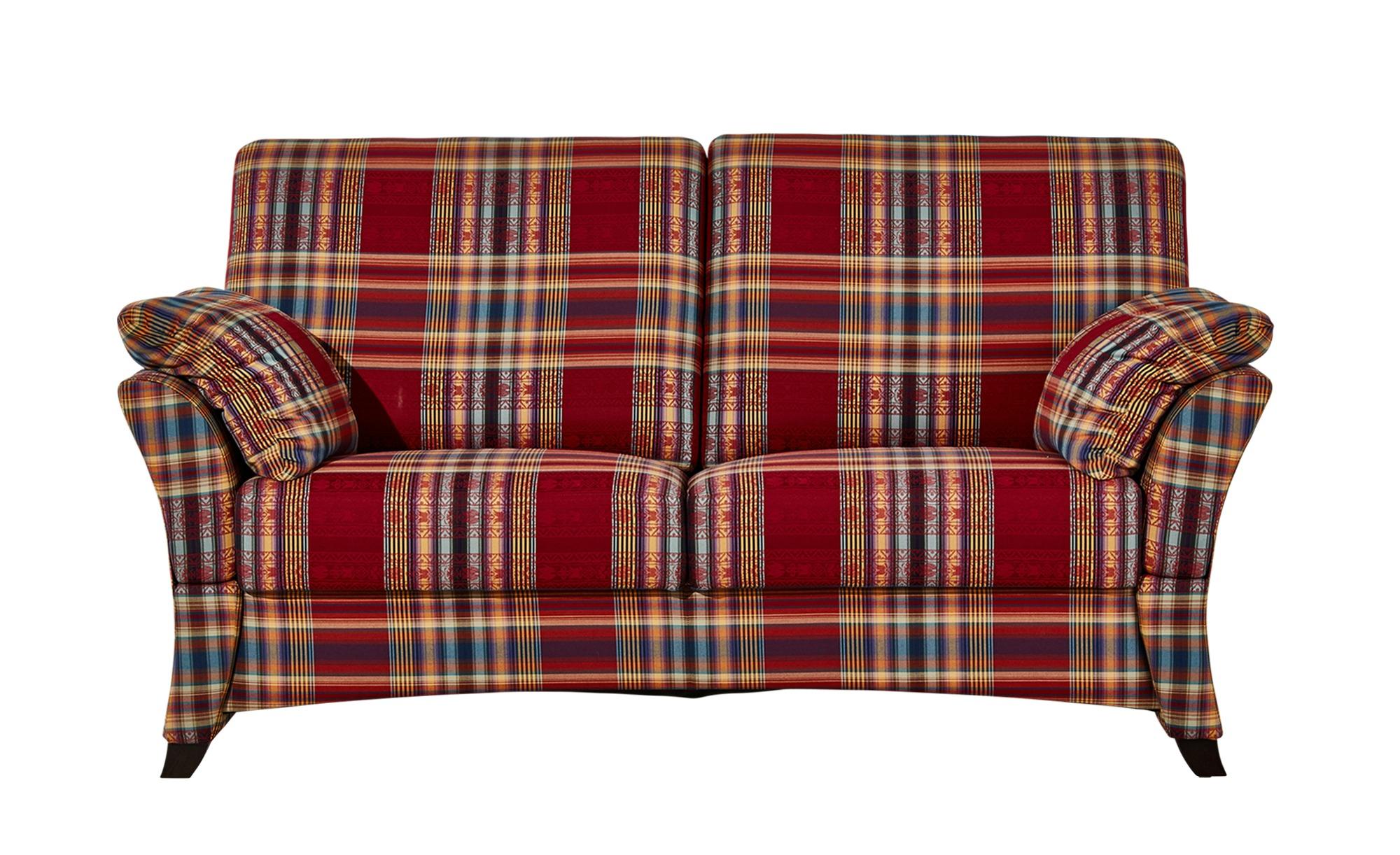 Sofa 2-sitzig rot/kariert - Webstoff Mikado | 2-Sitzer