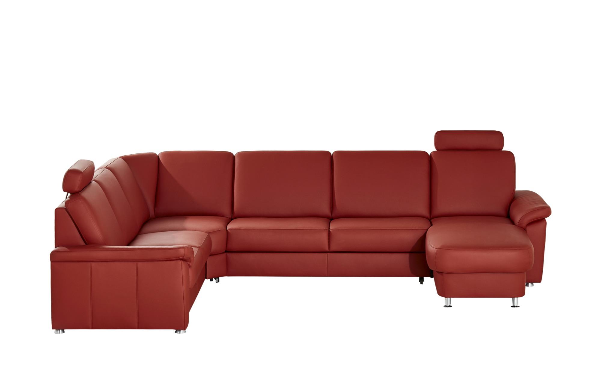 meinSofa Leder-Wohnlandschaft rot - Leder Carolin ¦ rot ¦ Maße (cm): H: 91 Polstermöbel > Sofas > Schlafsofas - Höffner