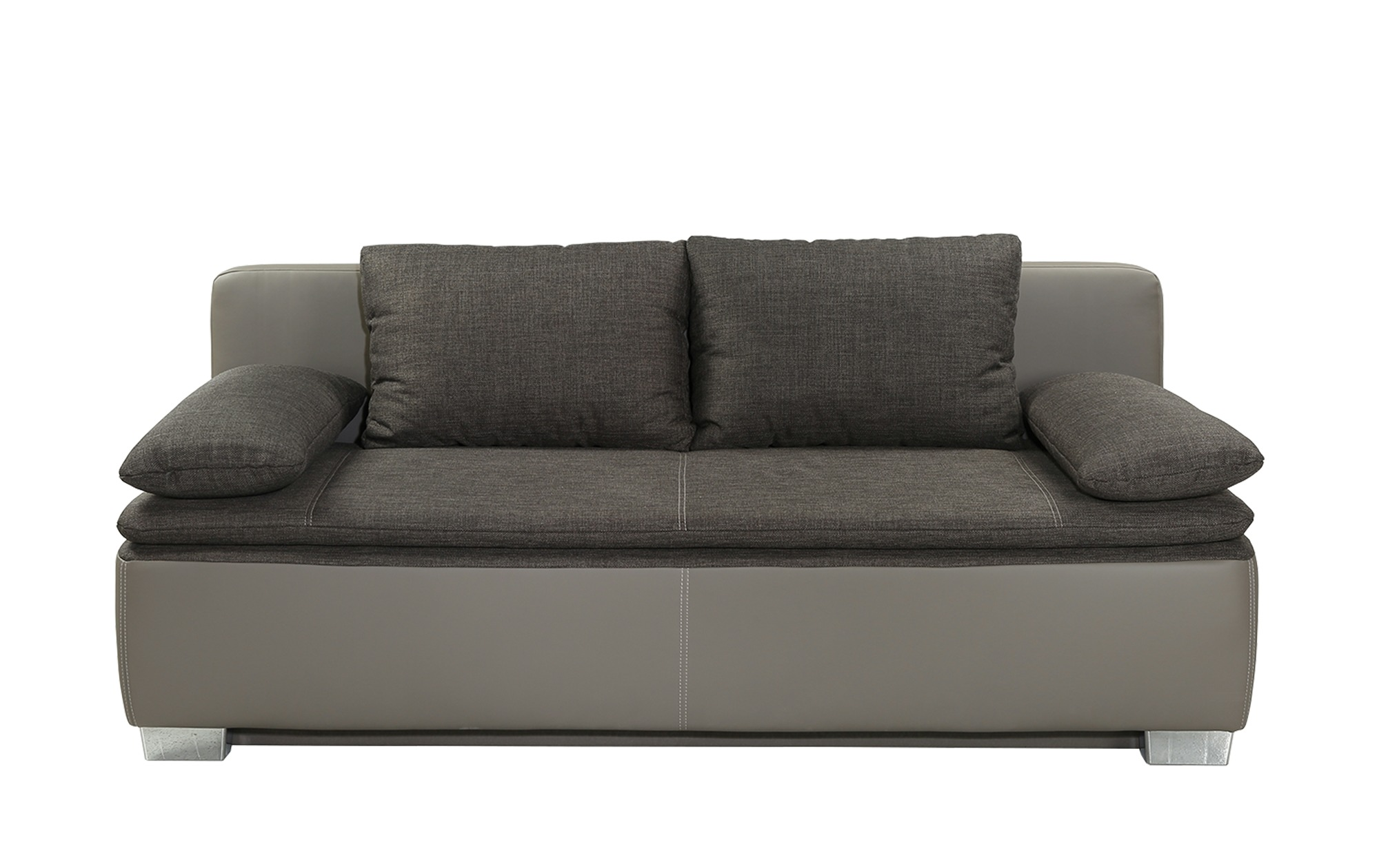 Schlafsofa grau/braun - Kunstleder/Webstoff Ronja ¦ braun ¦ Maße (cm): B: 202 H: 85 T: 96 Polstermöbel > Sofas > 2-Sitzer - Höffner