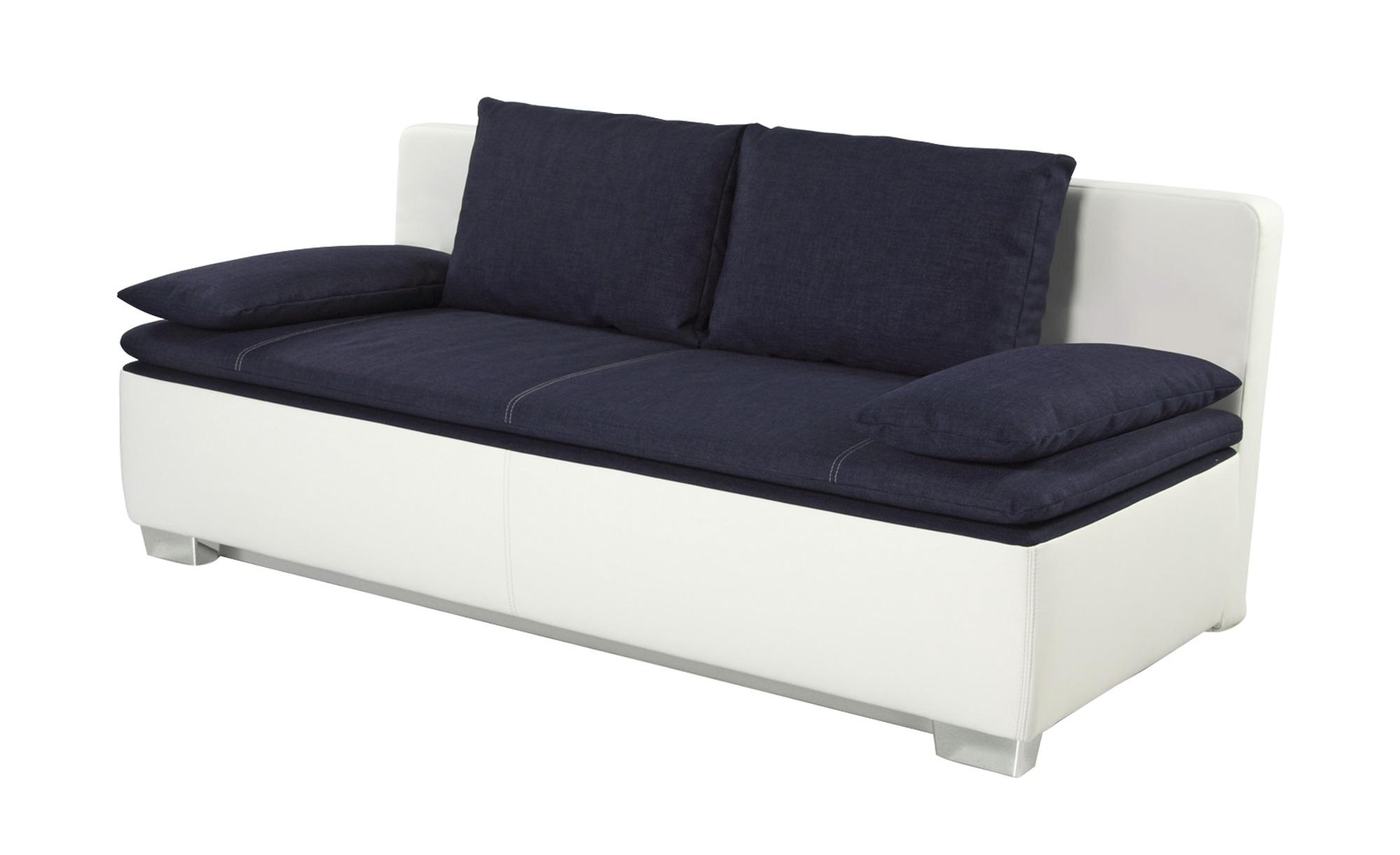 Schlafsofa weiß/blau - Kunstleder/Webstoff Ronja ¦ Maße (cm): B: 202 H: 85 T: 96 Polstermöbel > Sofas > 2-Sitzer - Höffner
