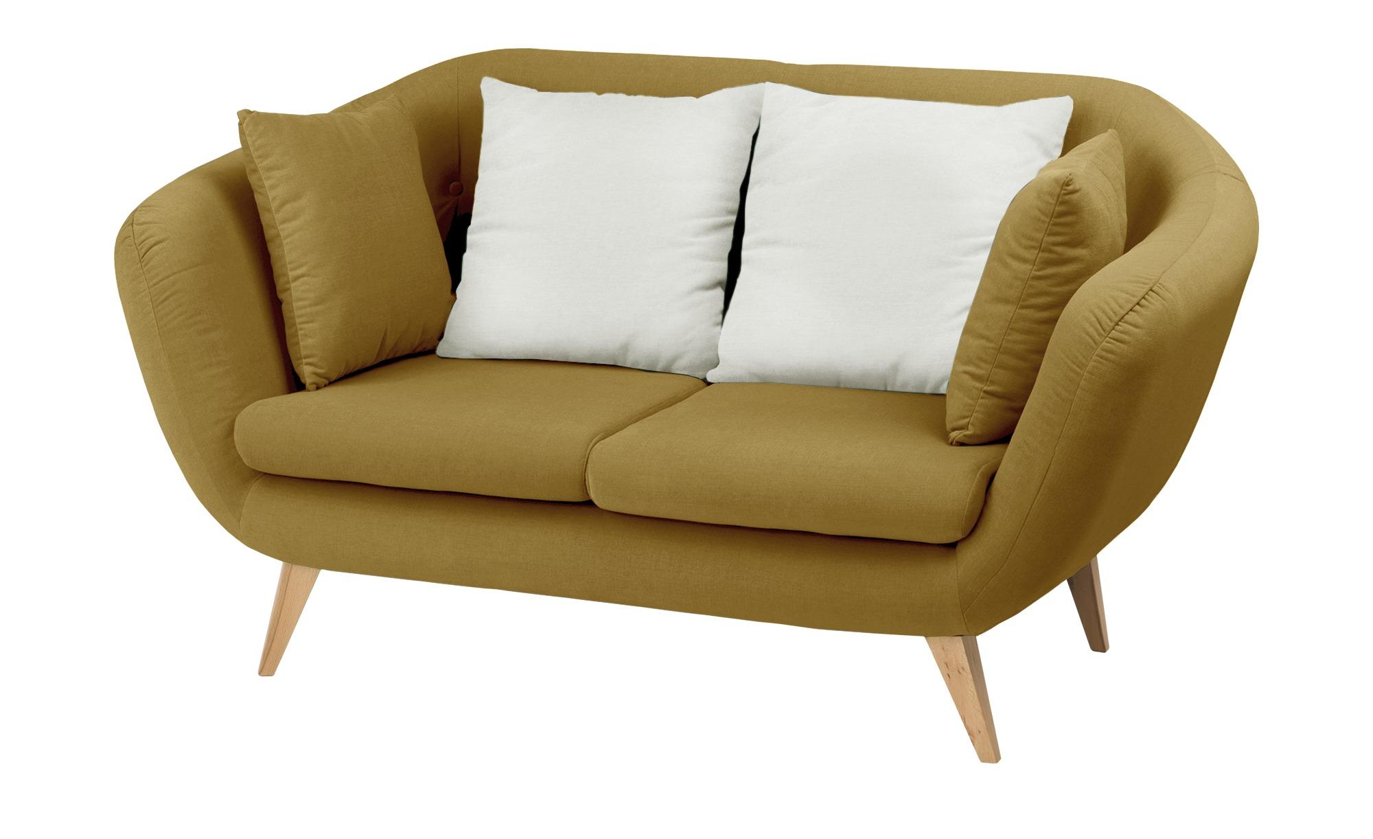 smart Sofa  ocker - Mikrofaser Ricarda ¦ gelb ¦ Maße (cm): B: 176 H: 93 T: 90 Polstermöbel > Sofas > 2-Sitzer - Höffner