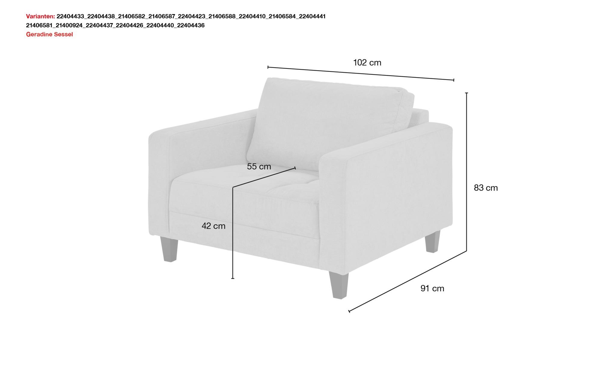 smart Sessel grün - Stoff Geradine ¦ grün ¦ Maße (cm): B: 102 H: 83 T: 91 Polstermöbel > Sessel > Polstersessel - Höffner
