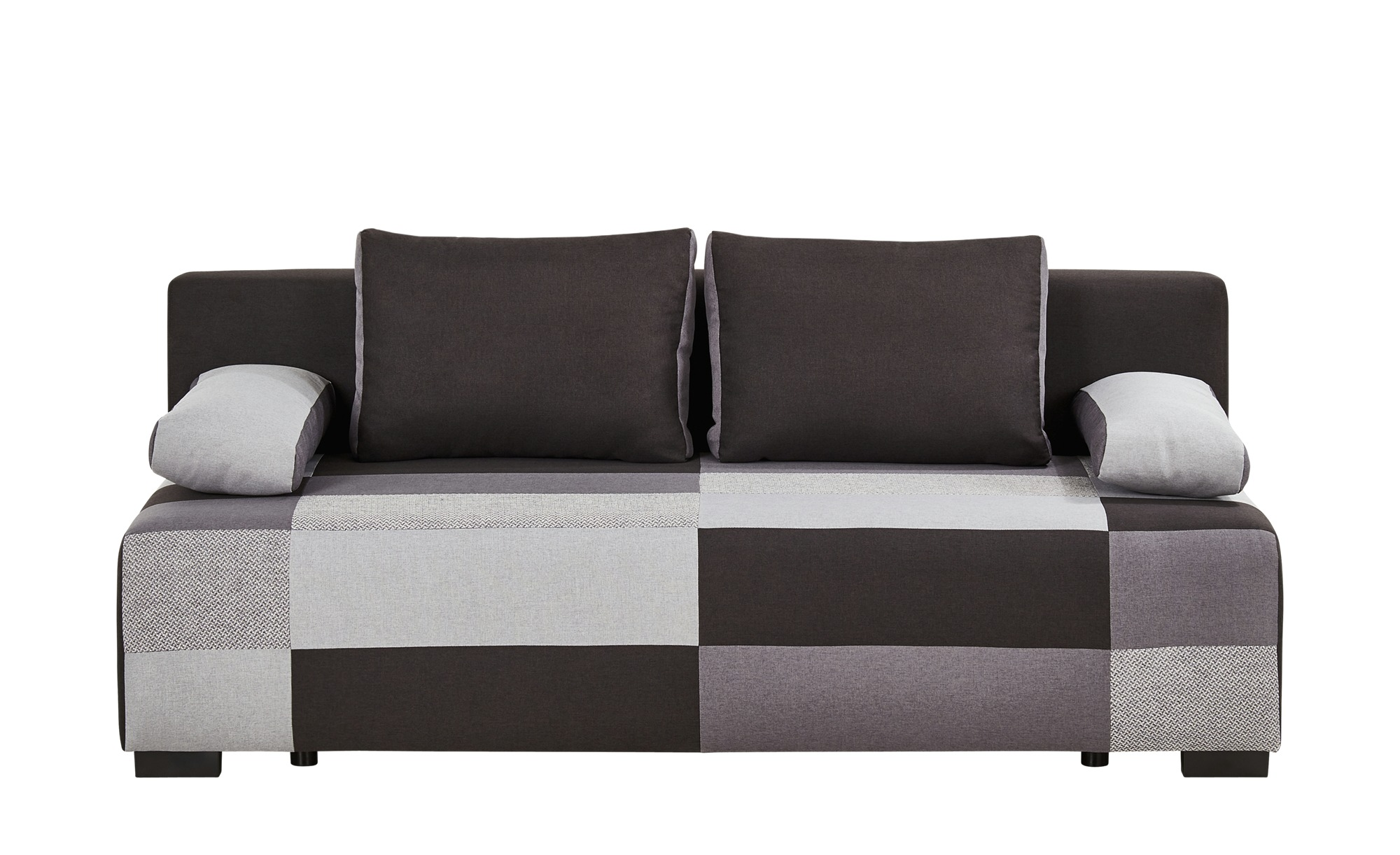 Schlafsofa schwarz/grau - Flachgewebe Jamira ¦ grau ¦ Maße (cm): B: 204 H: 90 T: 92 Polstermöbel > Sofas > 2-Sitzer - Höffner