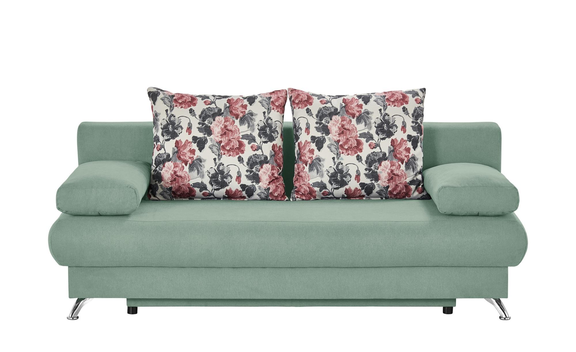 Schlafsofa mintgrün - Flachgewebe Viola ¦ grün ¦ Maße (cm): B: 203 H: 72 T: 93 Polstermöbel > Sofas > 2-Sitzer - Höffner