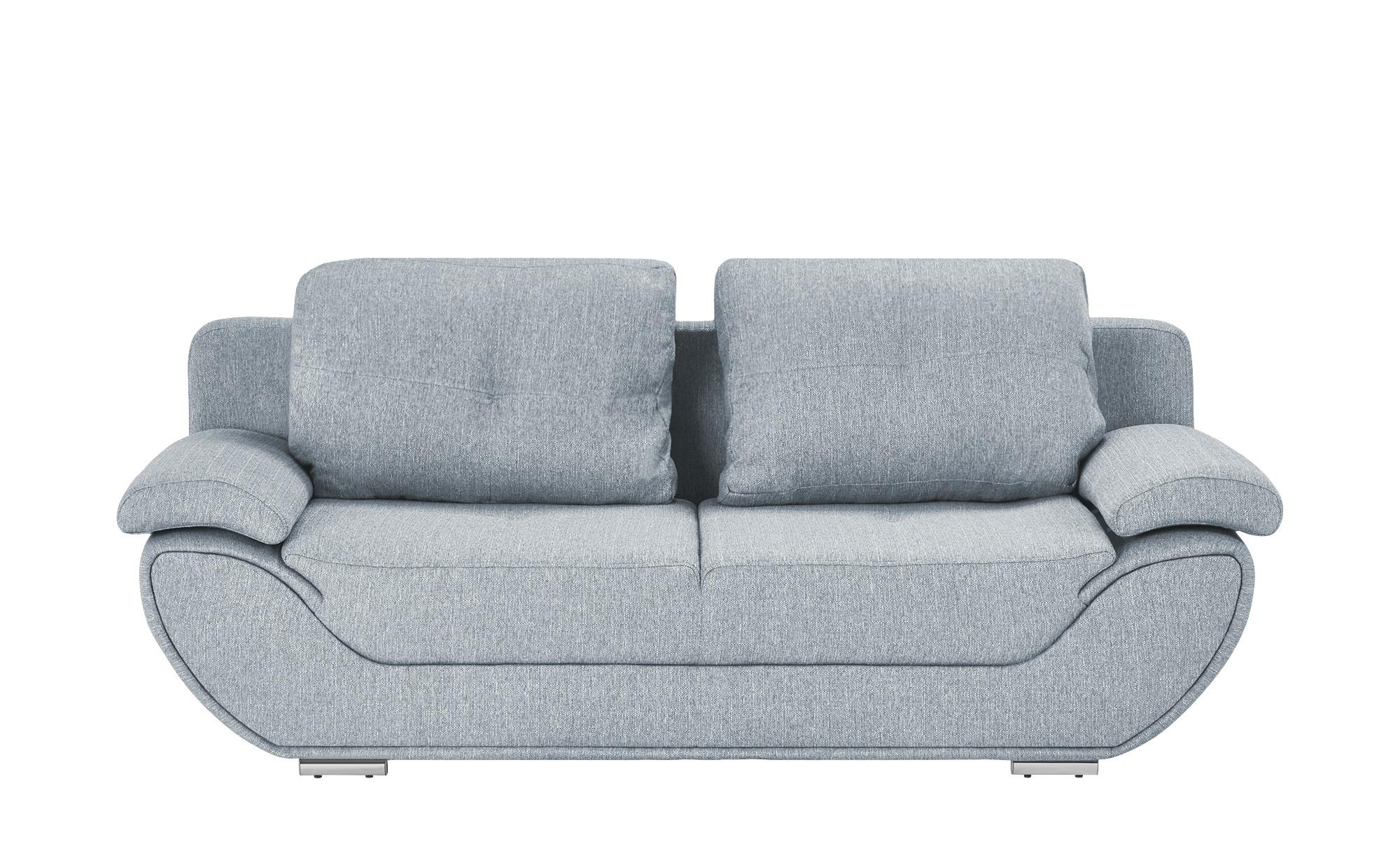 smart Design-Schlafsofa grau - Webstoff Adina ¦ silber ¦ Maße (cm): B: 204 H: 90 T: 92 Polstermöbel > Sofas > 2-Sitzer - Höffner
