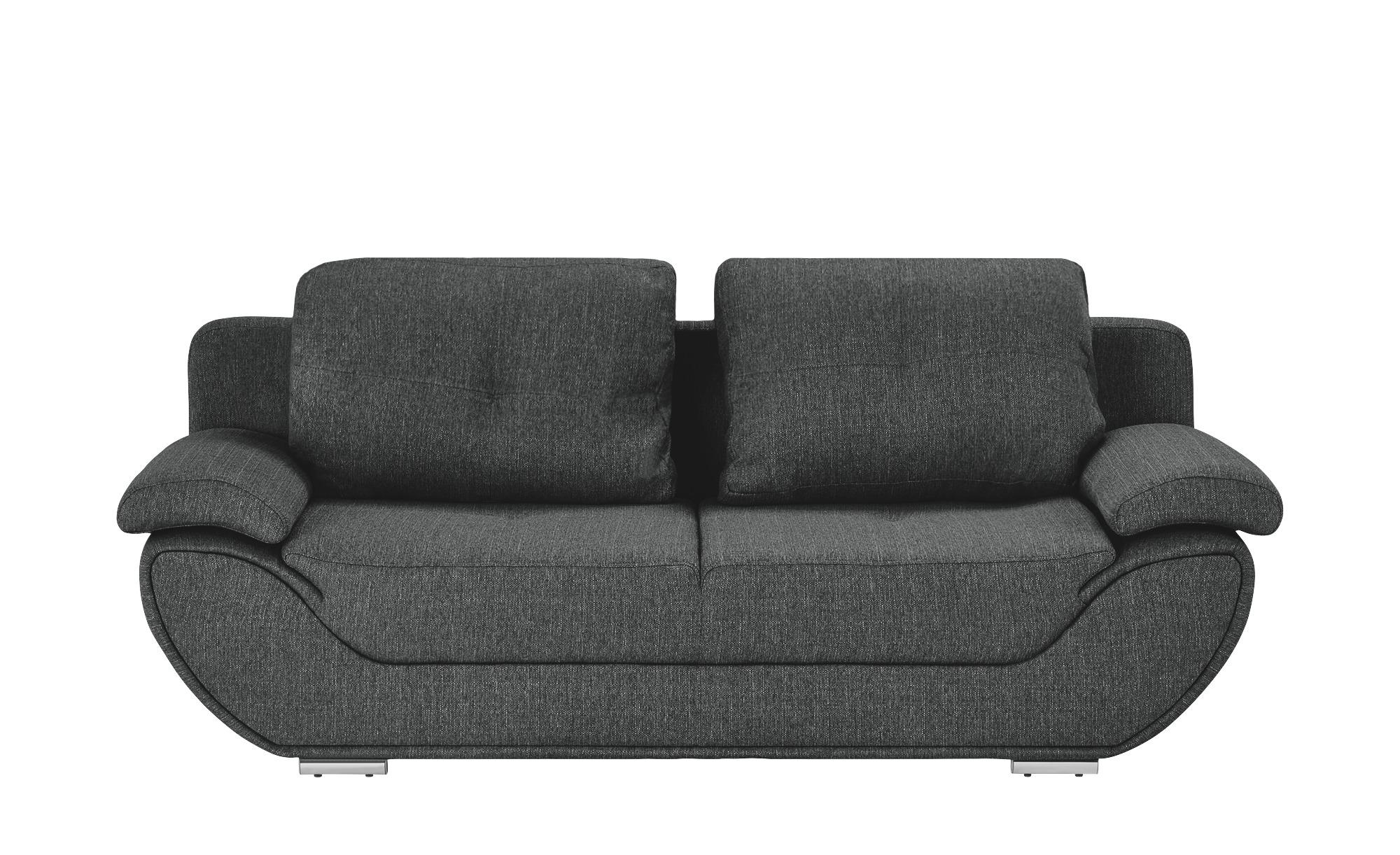 smart Design-Schlafsofa braun - Webstoff Adina ¦ grau ¦ Maße (cm): B: 204 H: 90 T: 92 Polstermöbel > Sofas > 2-Sitzer - Höffner