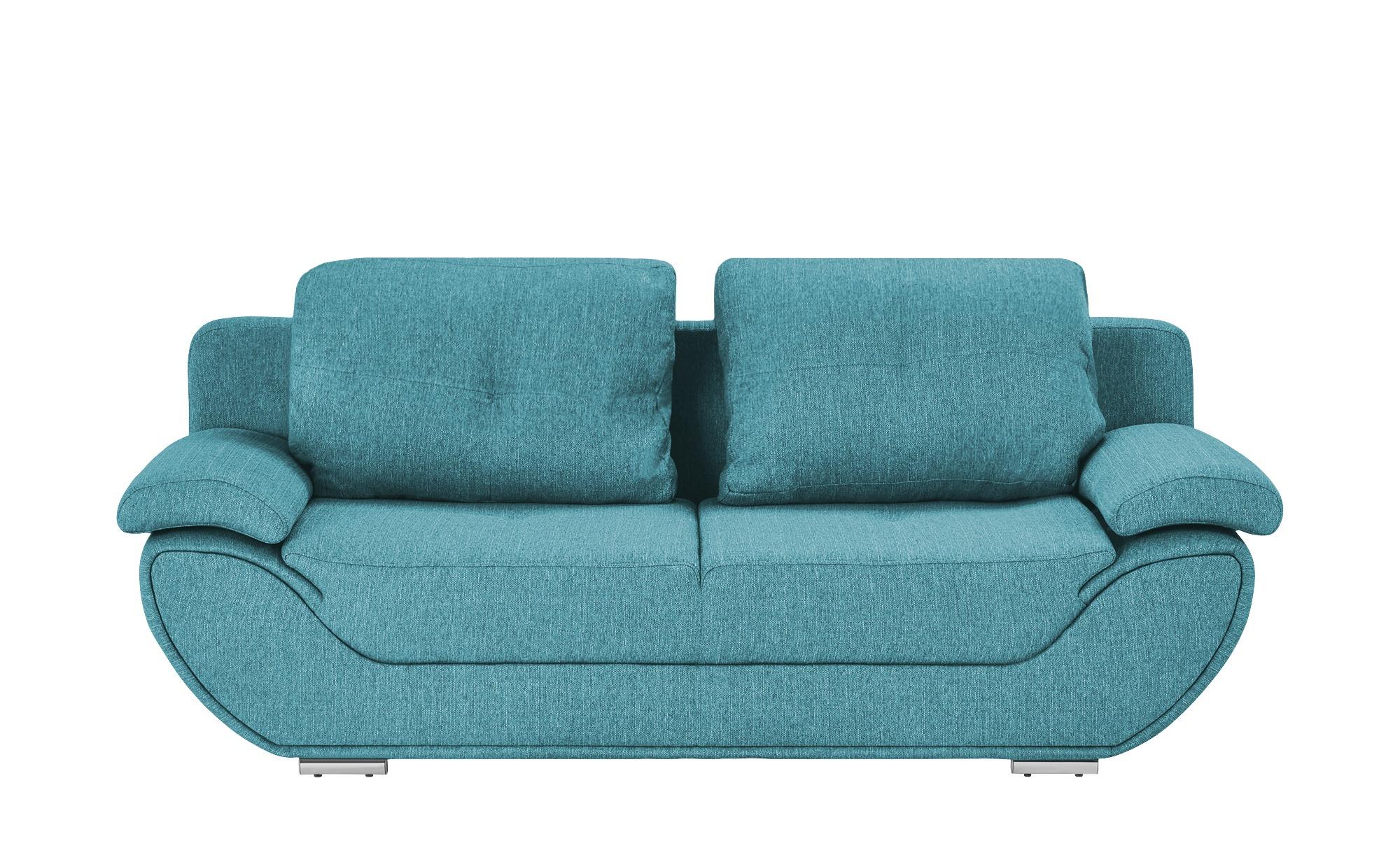 smart Design-Schlafsofa petrol - Webstoff Adina ¦ türkis/petrol ¦ Maße (cm): B: 204 H: 90 T: 92 Polstermöbel > Sofas > 2-Sitzer - Höffner