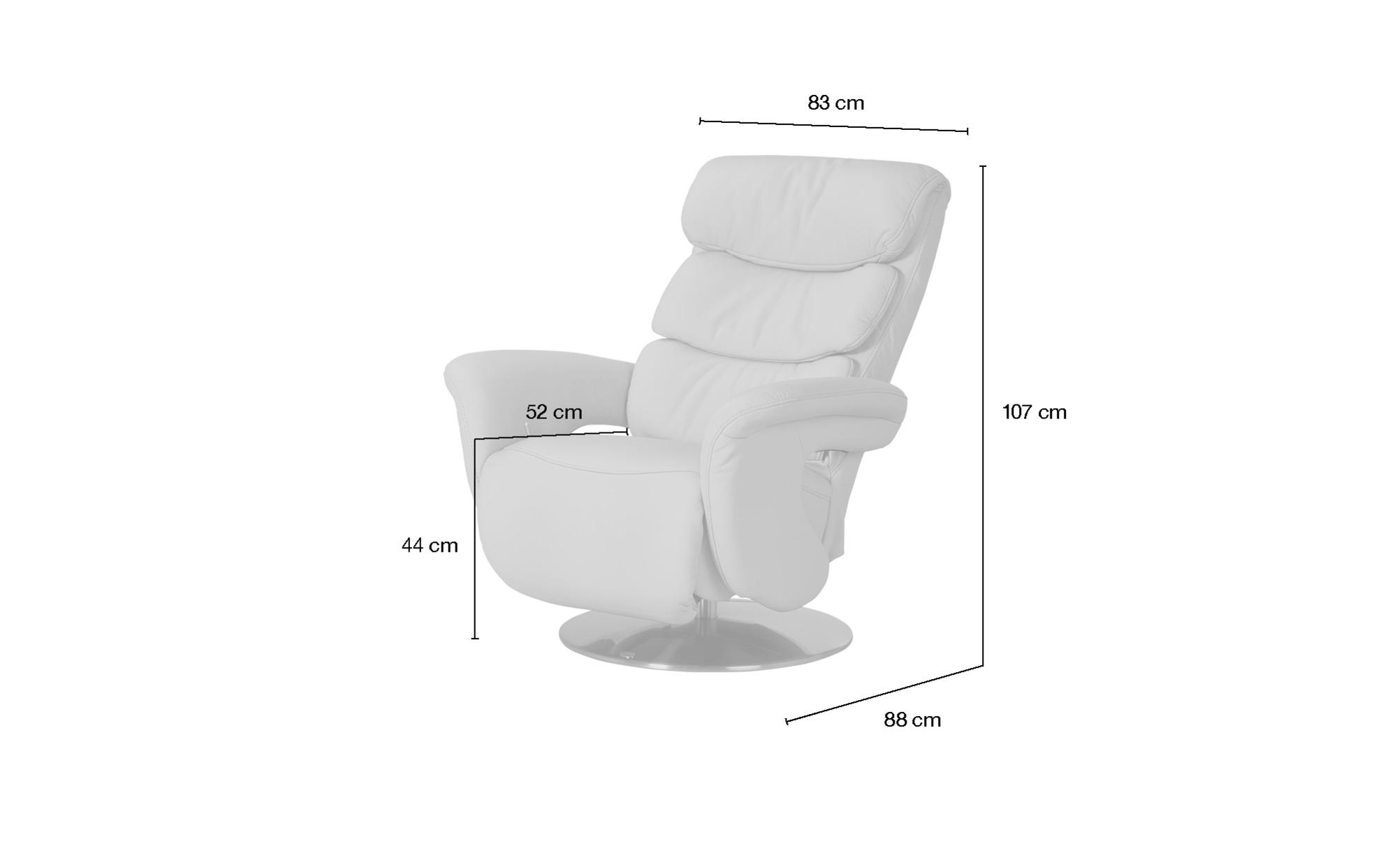 himolla Leder-Relaxsessel beige - Leder 7228 ¦ beige ¦ Maße (cm): B: 83 H: 107 T: 88 Polstermöbel > Sessel > Fernsehsessel - Höffner
