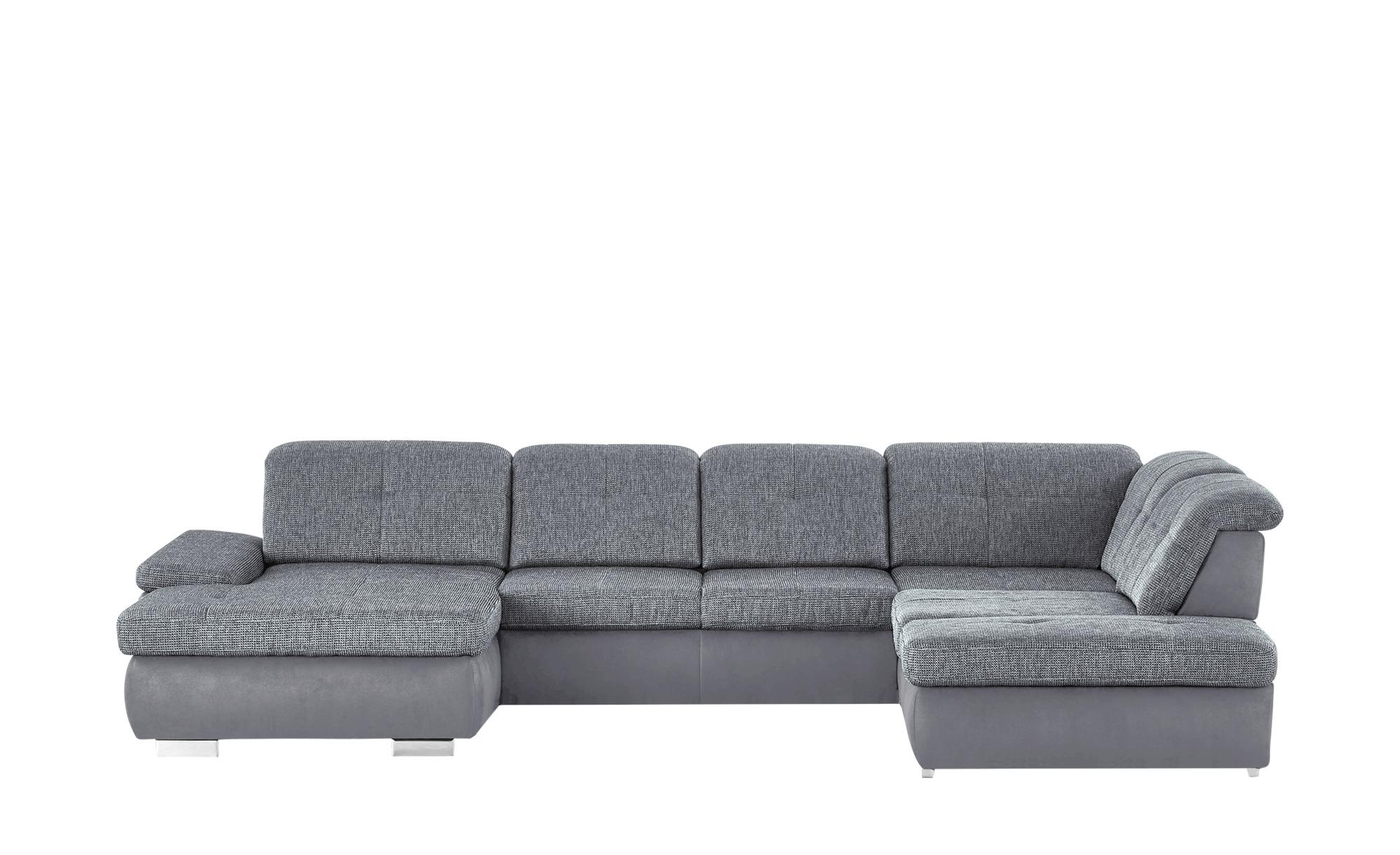 Wohnlandschaft grau/grau - Mikrofaser/Webstoff Affair ¦ grau Polstermöbel > Sofas > Wohnlandschaften - Höffner