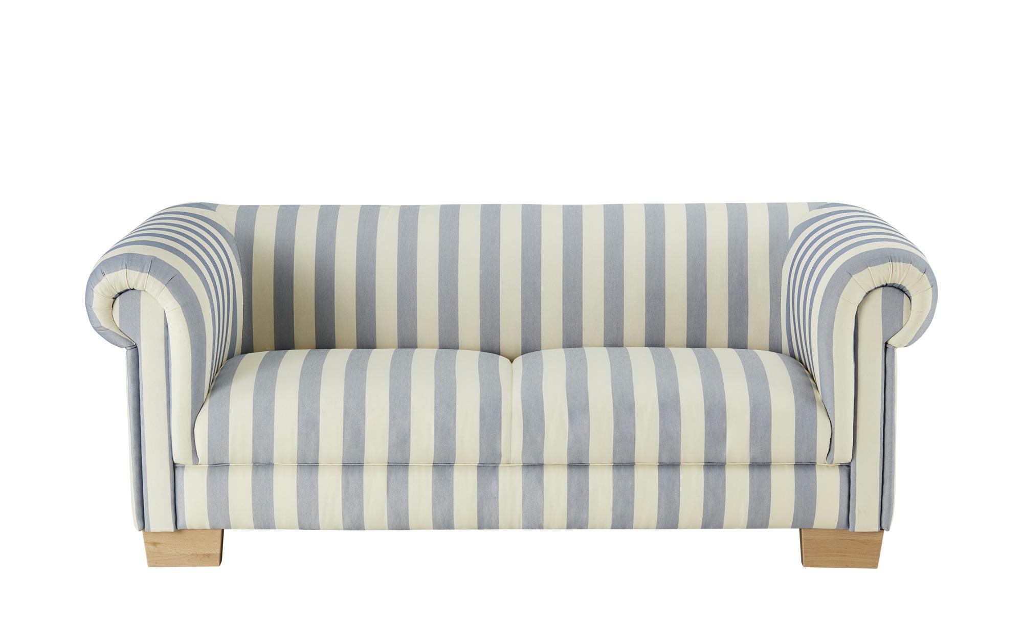 smart Sofa 3-sitzig blau/weiß - Flachgewebe Maria ¦ mehrfarbig ¦ Maße (cm): B: 202 H: 78 T: 94 Polstermöbel > Sofas > 3-Sitzer - Höffner