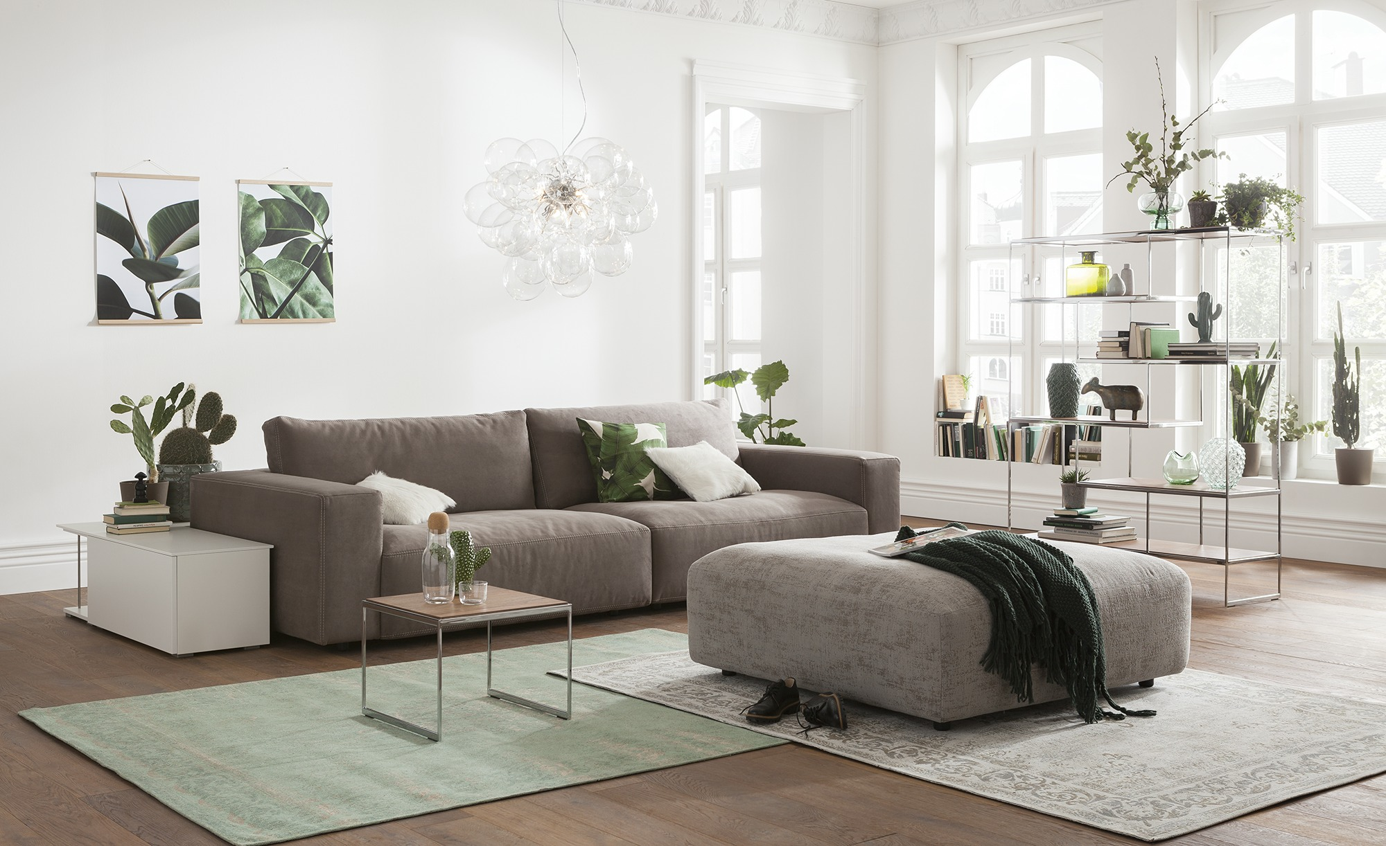 gallery m big sofa grau braun mikrofaser lucia. Black Bedroom Furniture Sets. Home Design Ideas