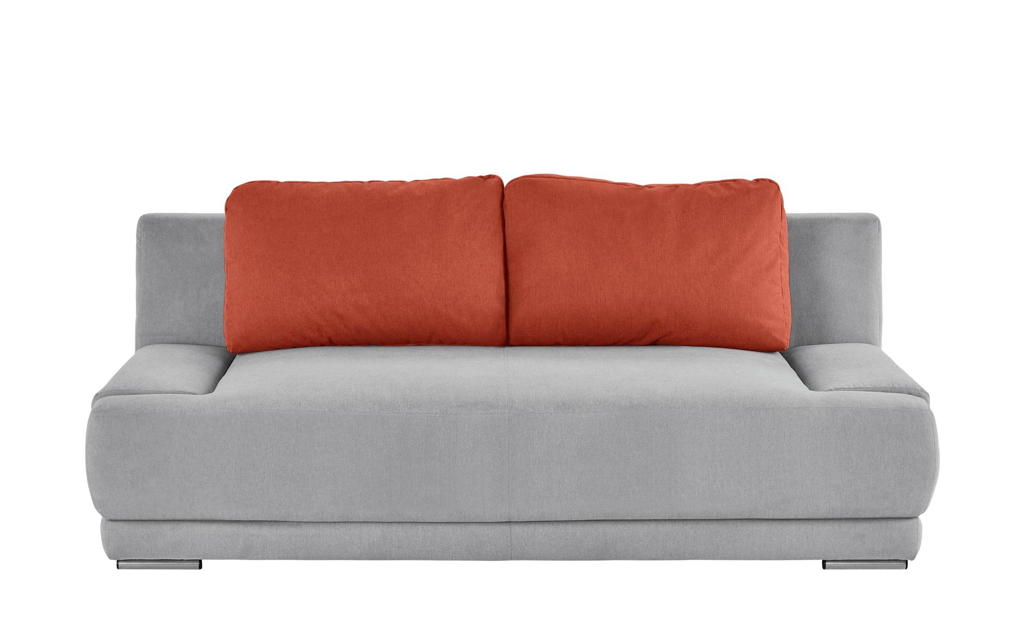 smart Schlafsofa grau/orange - Flachgewebe Regina ¦ grau ¦ Maße (cm): B: 206 H: 83 T: 98 Polstermöbel > Sofas > 2-Sitzer - Höffner