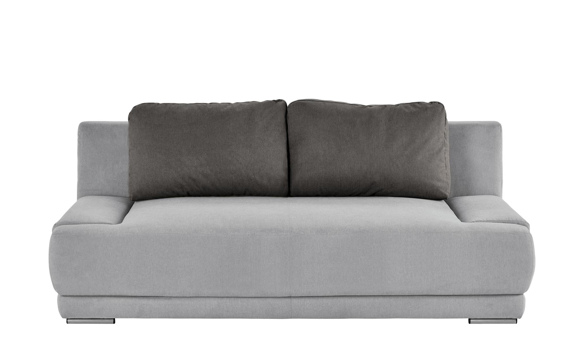 smart Schlafsofa grau/braun - Flachgewebe Regina ¦ grau ¦ Maße (cm): B: 206 H: 83 T: 98 Polstermöbel > Sofas > 2-Sitzer - Höffner