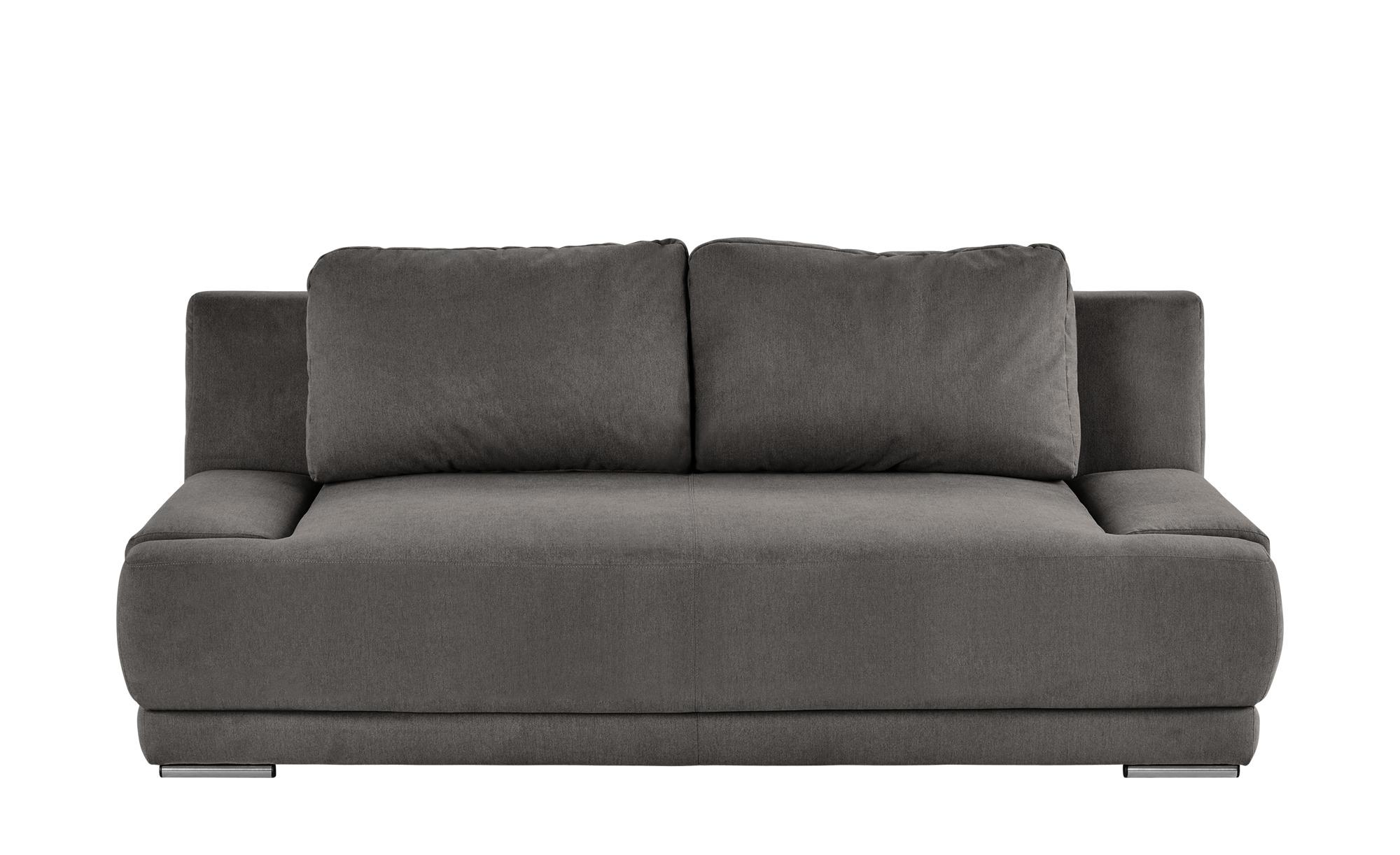 smart Schlafsofa grau-braun - Flachgewebe Regina ¦ grau ¦ Maße (cm): B: 206 H: 83 T: 98 Polstermöbel > Sofas > 2-Sitzer - Höffner