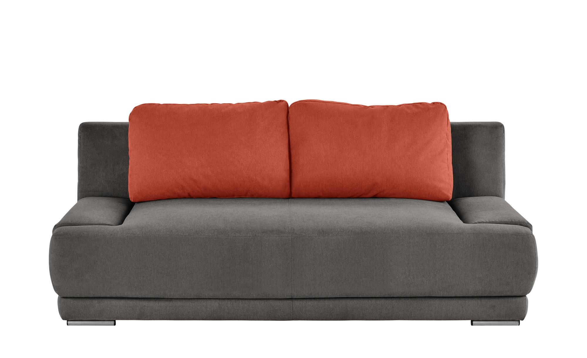 smart Schlafsofa braun/orange - Flachgewebe Regina ¦ grau ¦ Maße (cm): B: 206 H: 83 T: 98 Polstermöbel > Sofas > 2-Sitzer - Höffner