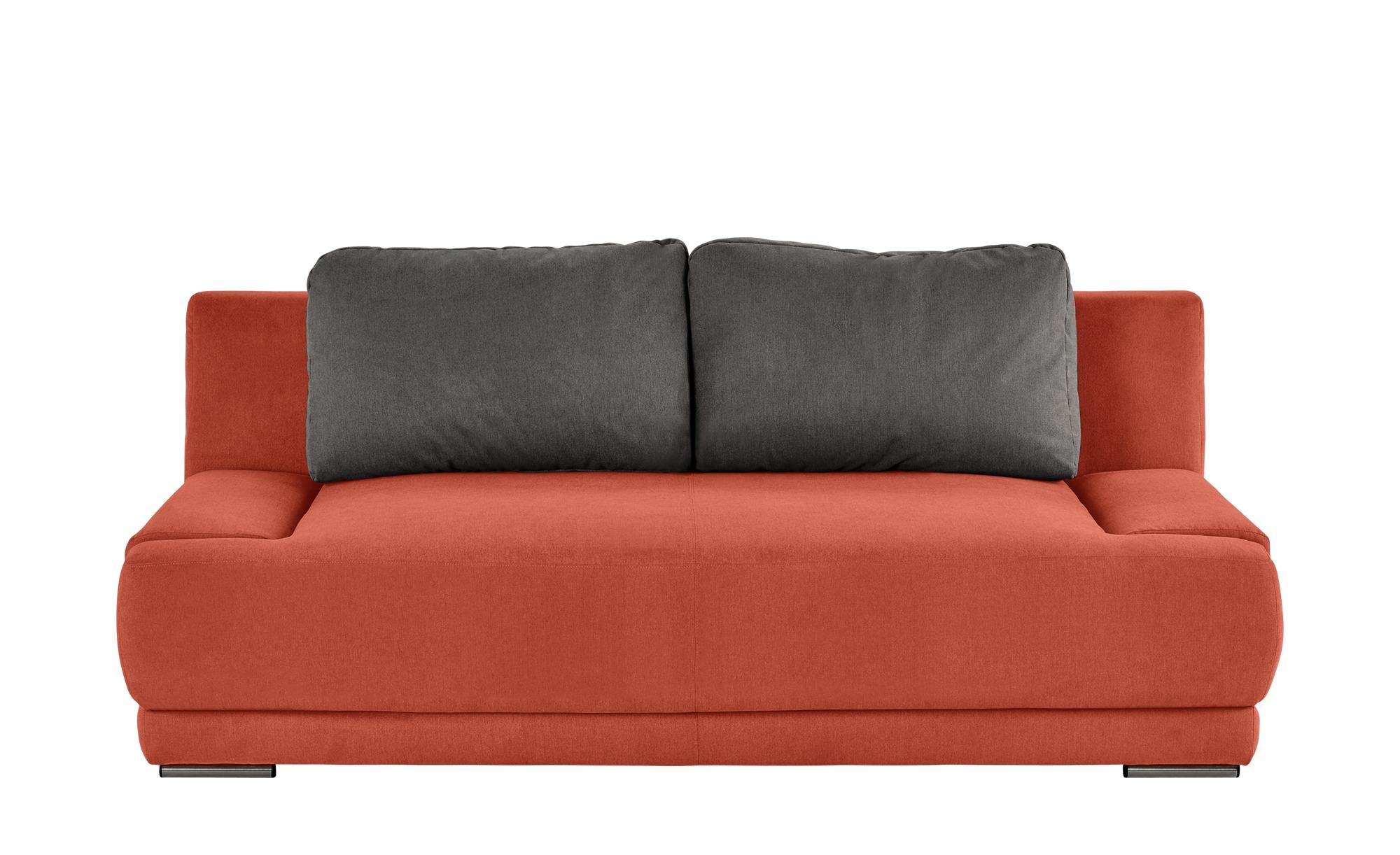 smart Schlafsofa orange/braun - Flachgewebe Regina ¦ orange ¦ Maße (cm): B: 206 H: 83 T: 98 Polstermöbel > Sofas > 2-Sitzer - Höffner