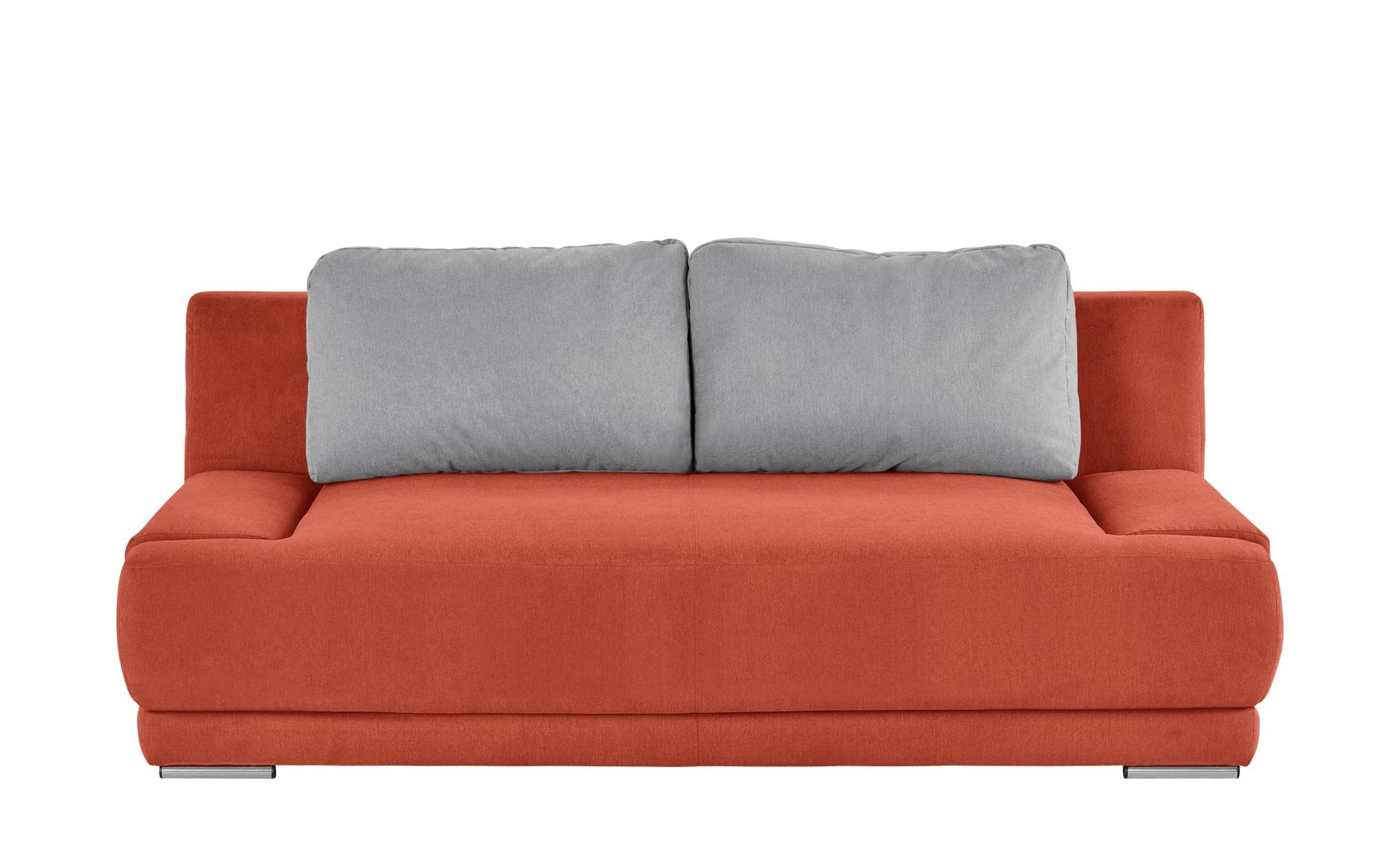 smart Schlafsofa orange/grau - Flachgewebe Regina ¦ orange ¦ Maße (cm): B: 206 H: 83 T: 98 Polstermöbel > Sofas > 2-Sitzer - Höffner