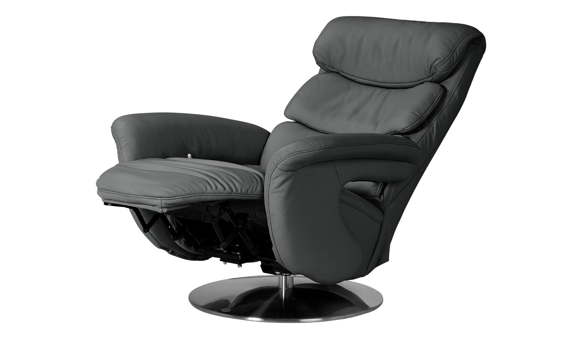 Leder-Relaxsessel grau - Leder Viktoria ¦ grau ¦ Maße (cm): B: 83 H: 113 T: 92 Polstermöbel > Sessel > Fernsehsessel - Höffner