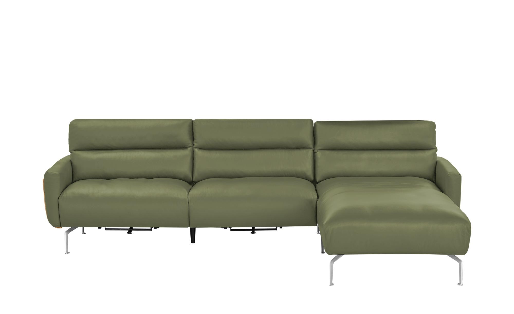 Ecksofa olivgrün - Leder Mads ¦ grün ¦ Maße (cm): H: 90 Polstermöbel > Sofas > Ledersofas - Höffner