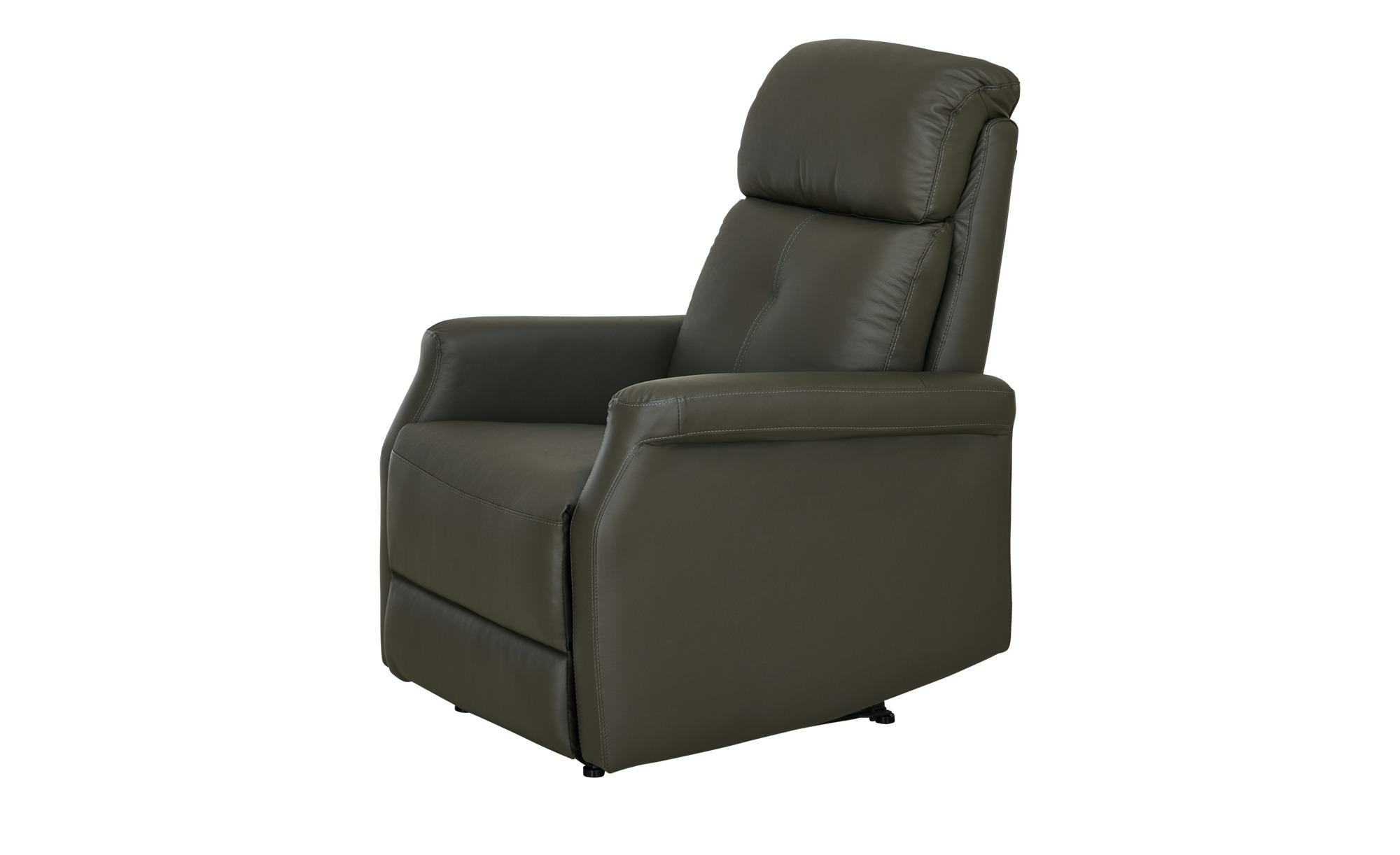 Fernsehsessel  grau - Leder Solea ¦ grau ¦ Maße (cm): B: 82 H: 104 T: 74 Polstermöbel > Sessel > Fernsehsessel - Höffner