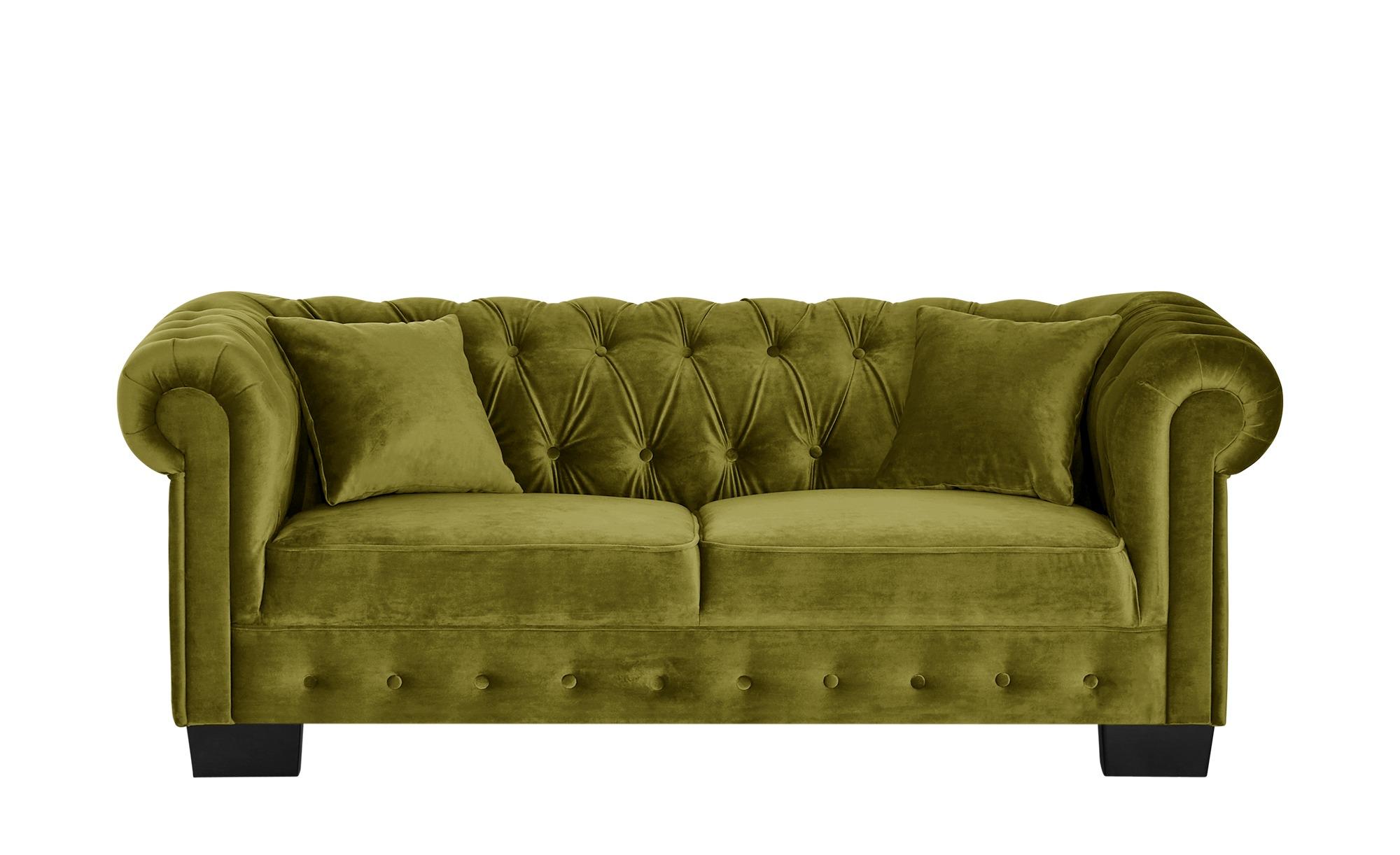 smart 3-Sitzer grün - Velour Chelli ¦ grün ¦ Maße (cm): B: 206 H: 77 T: 96 Polstermöbel > Sofas > 3-Sitzer - Höffner