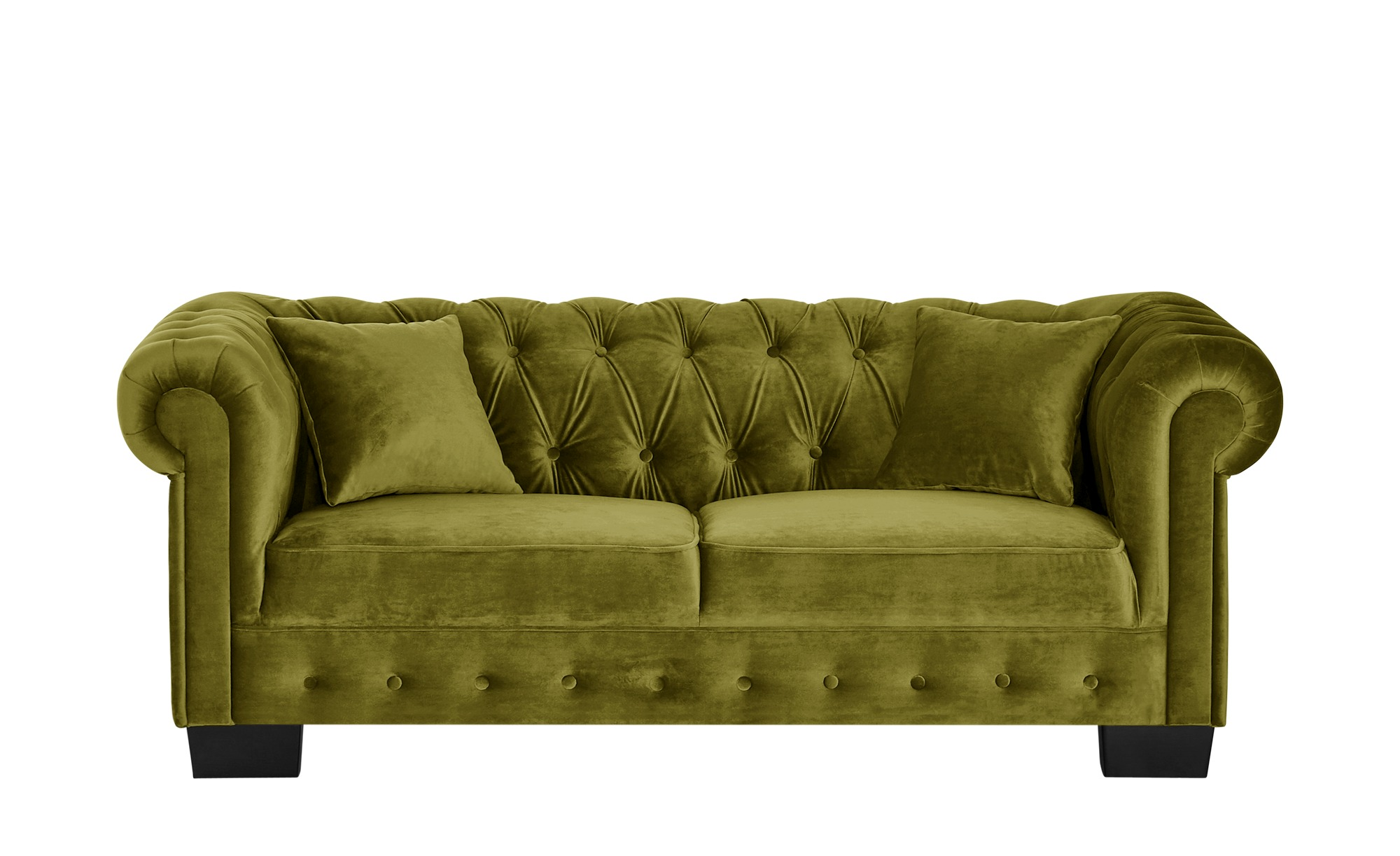 smart Sofa grün - Velour Chelli ¦ grün ¦ Maße (cm): B: 206 H: 77 T: 96 Polstermöbel > Sofas > 3-Sitzer - Höffner