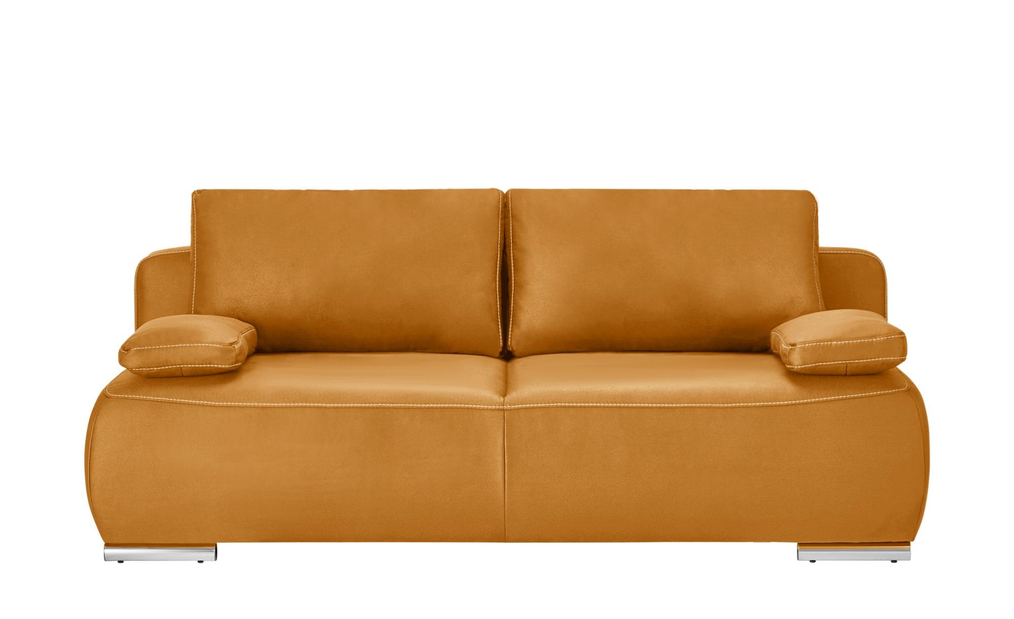 bobb Schlafsofa gelb - Mikrofaser Neila Deluxe ¦ gelb ¦ Maße (cm): B: 204 H: 86 T: 96 Polstermöbel > Sofas > 3-Sitzer - Höffner