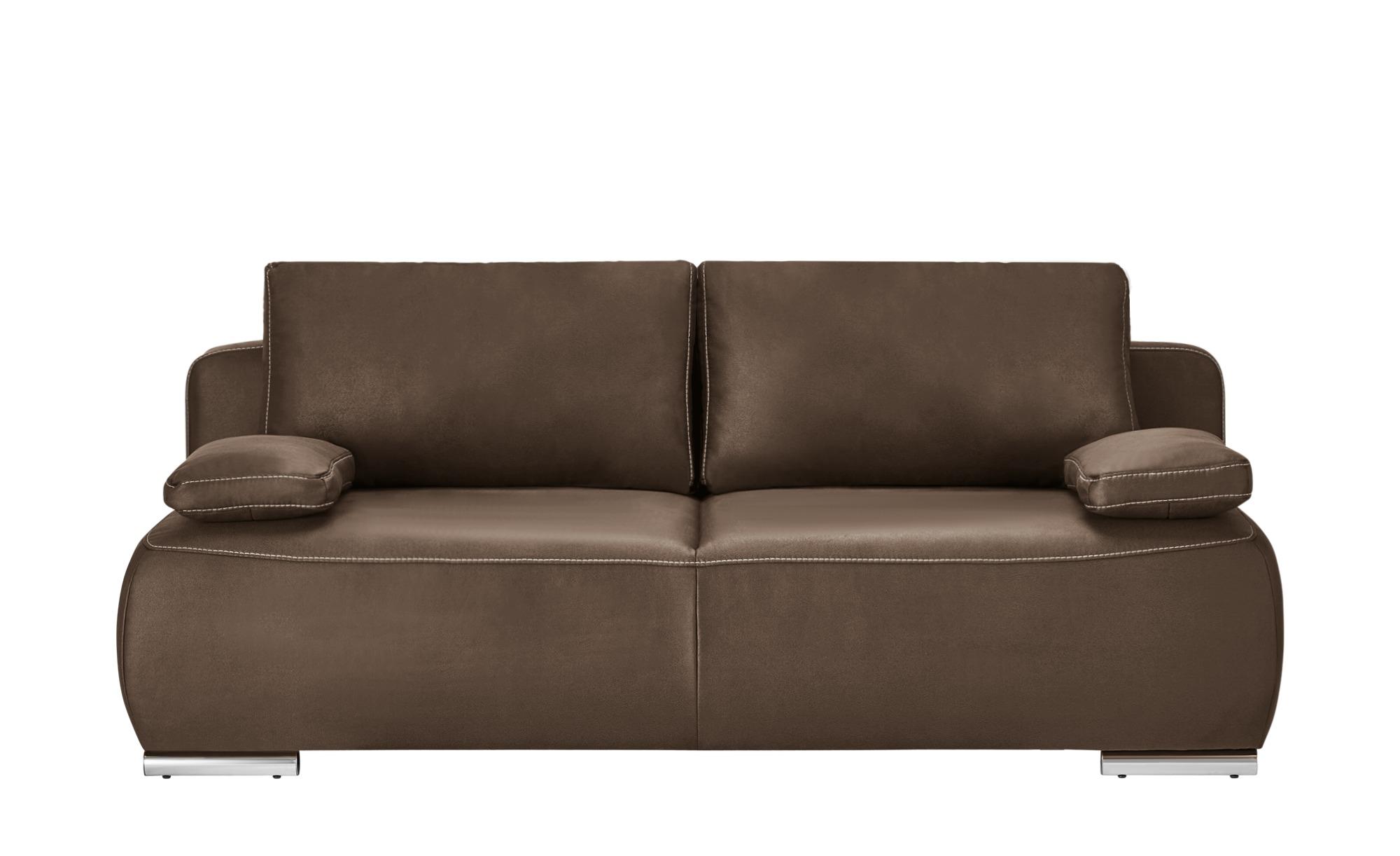 bobb Schlafsofa braun - Mikrofaser Neila Deluxe ¦ braun ¦ Maße (cm): B: 204 H: 86 T: 96 Polstermöbel > Sofas > 3-Sitzer - Höffner