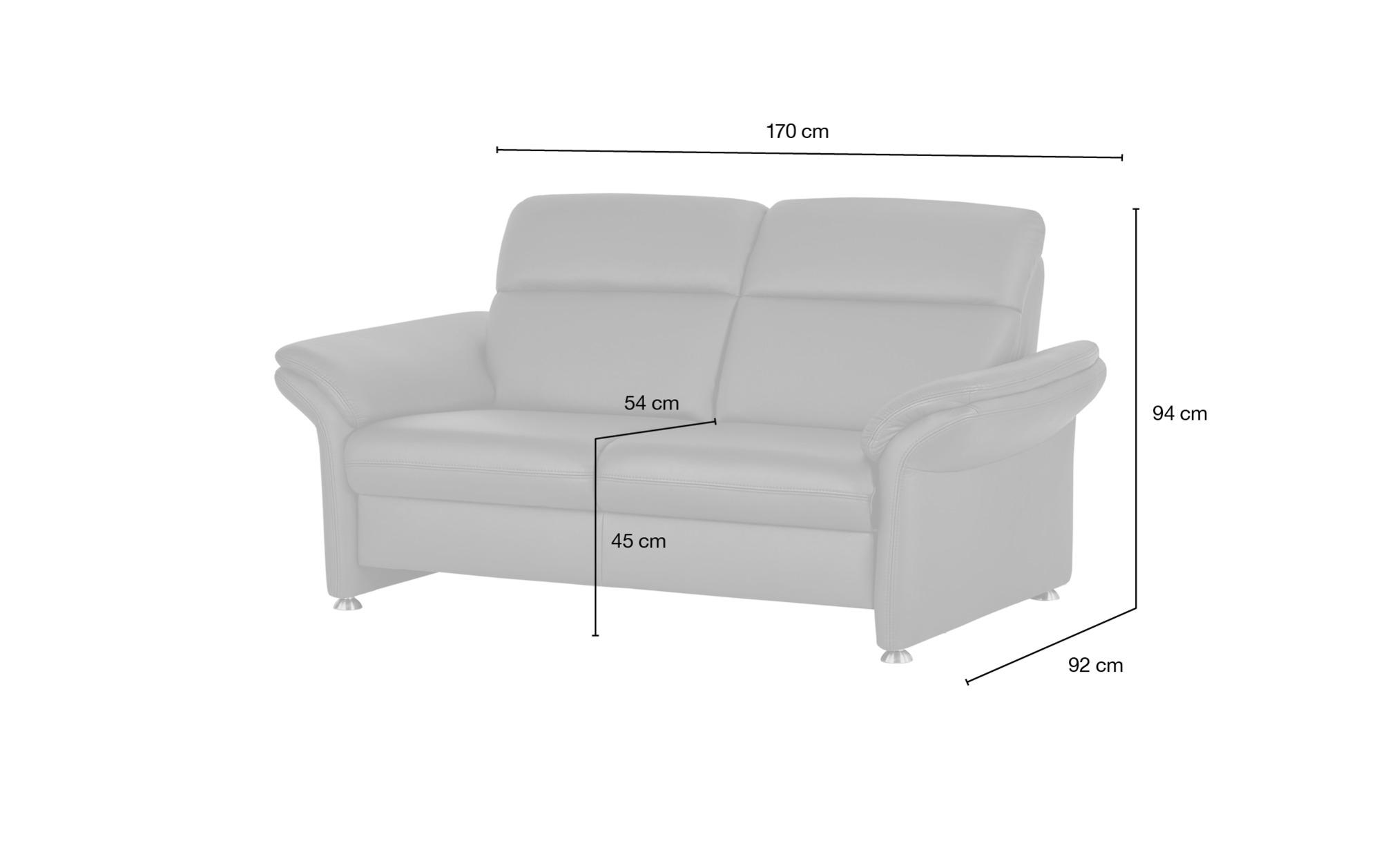 meinSofa Ledersofa dunkelrot - Leder Manon ¦ lila/violett ¦ Maße (cm): B: 170 H: 94 T: 92 Polstermöbel > Sofas > 2-Sitzer - Höffner