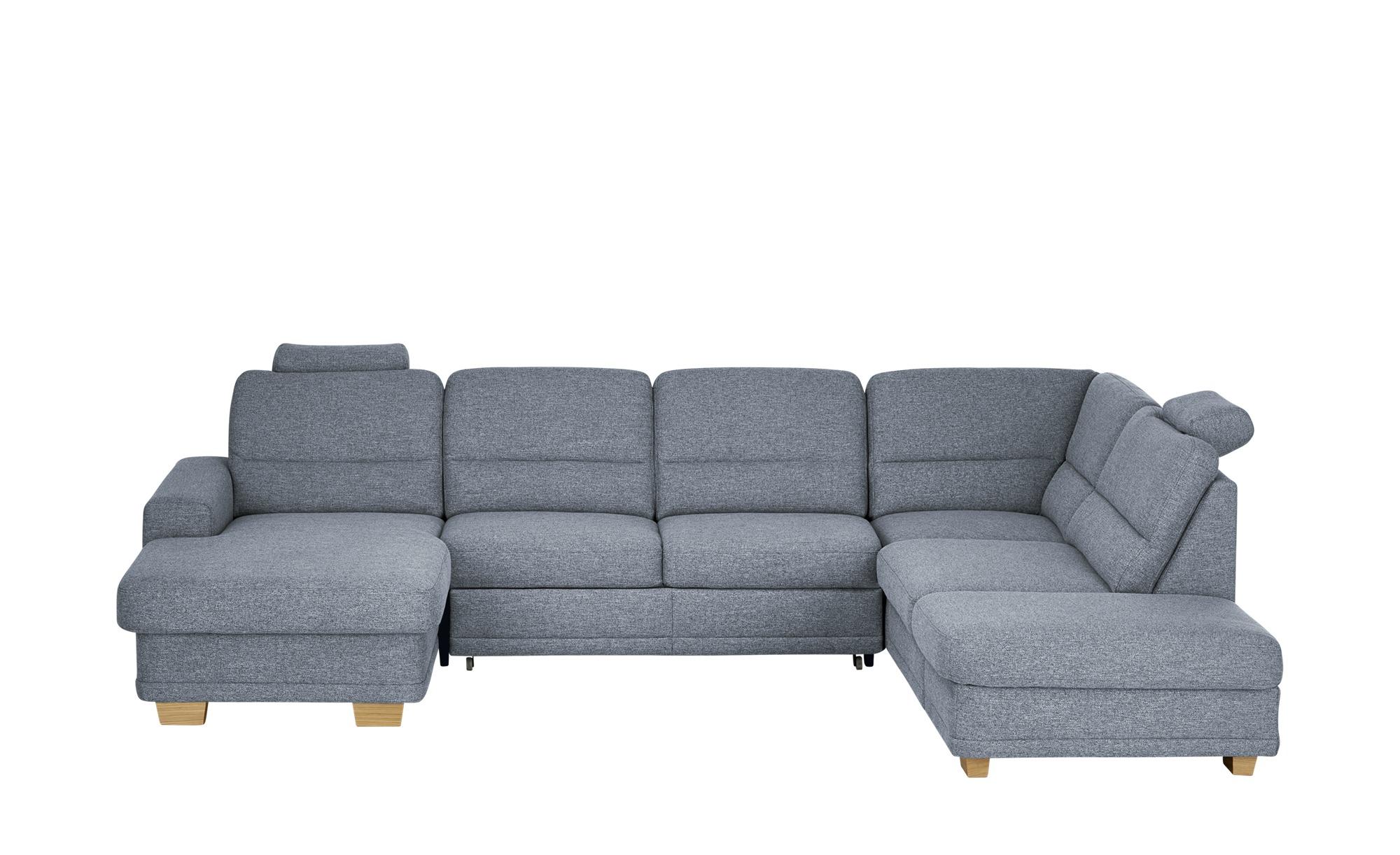 meinSofa Wohnlandschaft grau - Webstoff Marc ¦ blau ¦ Maße (cm): H: 85 Polstermöbel > Sofas > Schlafsofas - Höffner