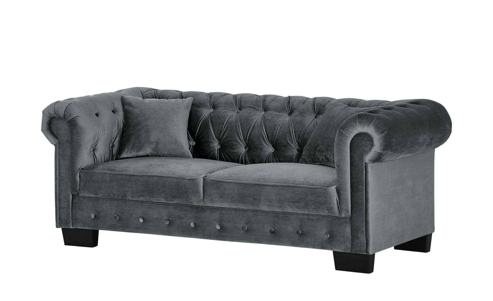 smart Sofa grau - Velour Chelli ¦ grau ¦ Maße (cm): B: 206 H: 77 T: 96 Polstermöbel > Sofas > 3-Sitzer - Höffner