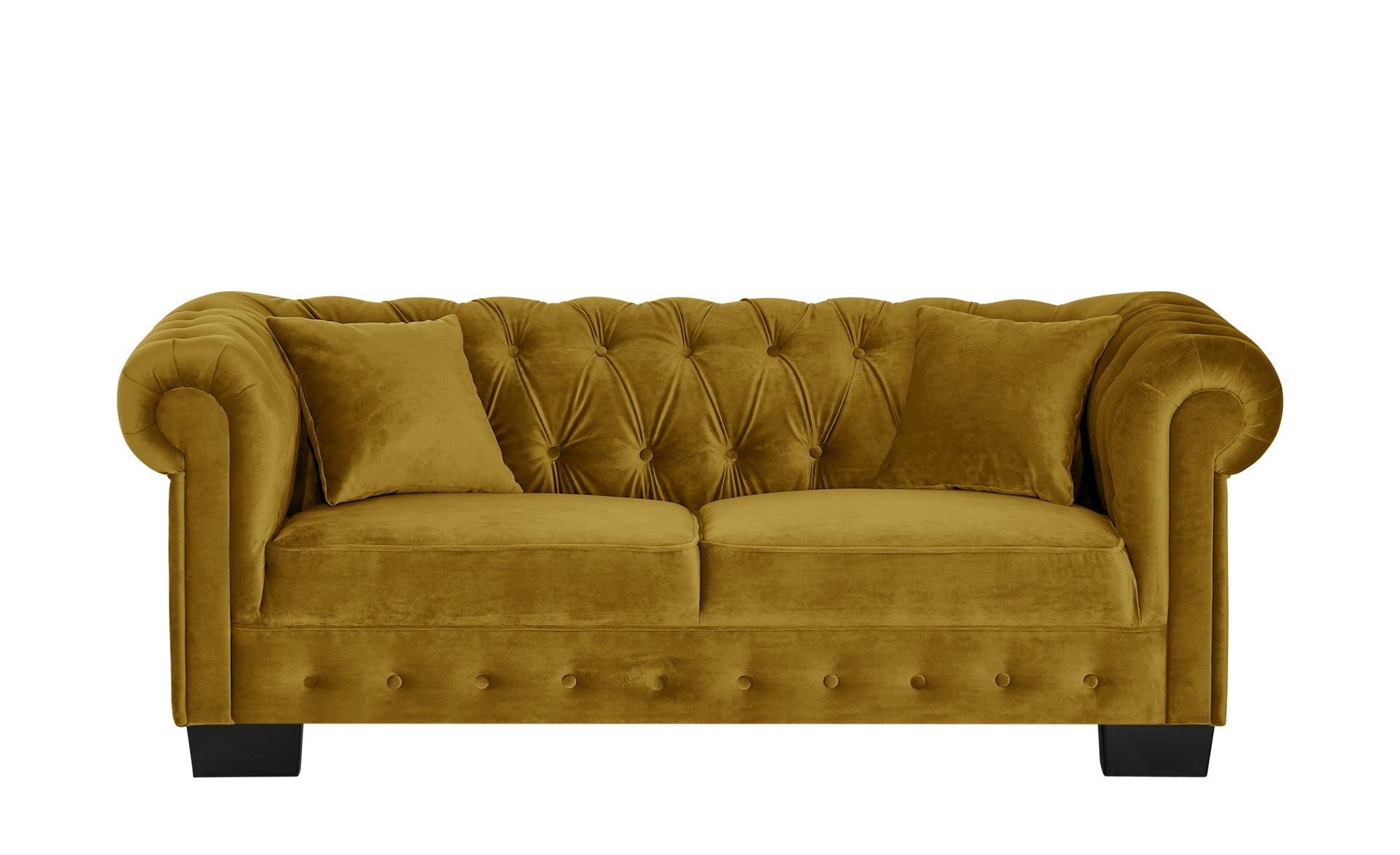 smart Sofa gelb - Velours Chelli ¦ gelb ¦ Maße (cm): B: 206 H: 77 T: 96 Polstermöbel > Sofas > 3-Sitzer - Höffner