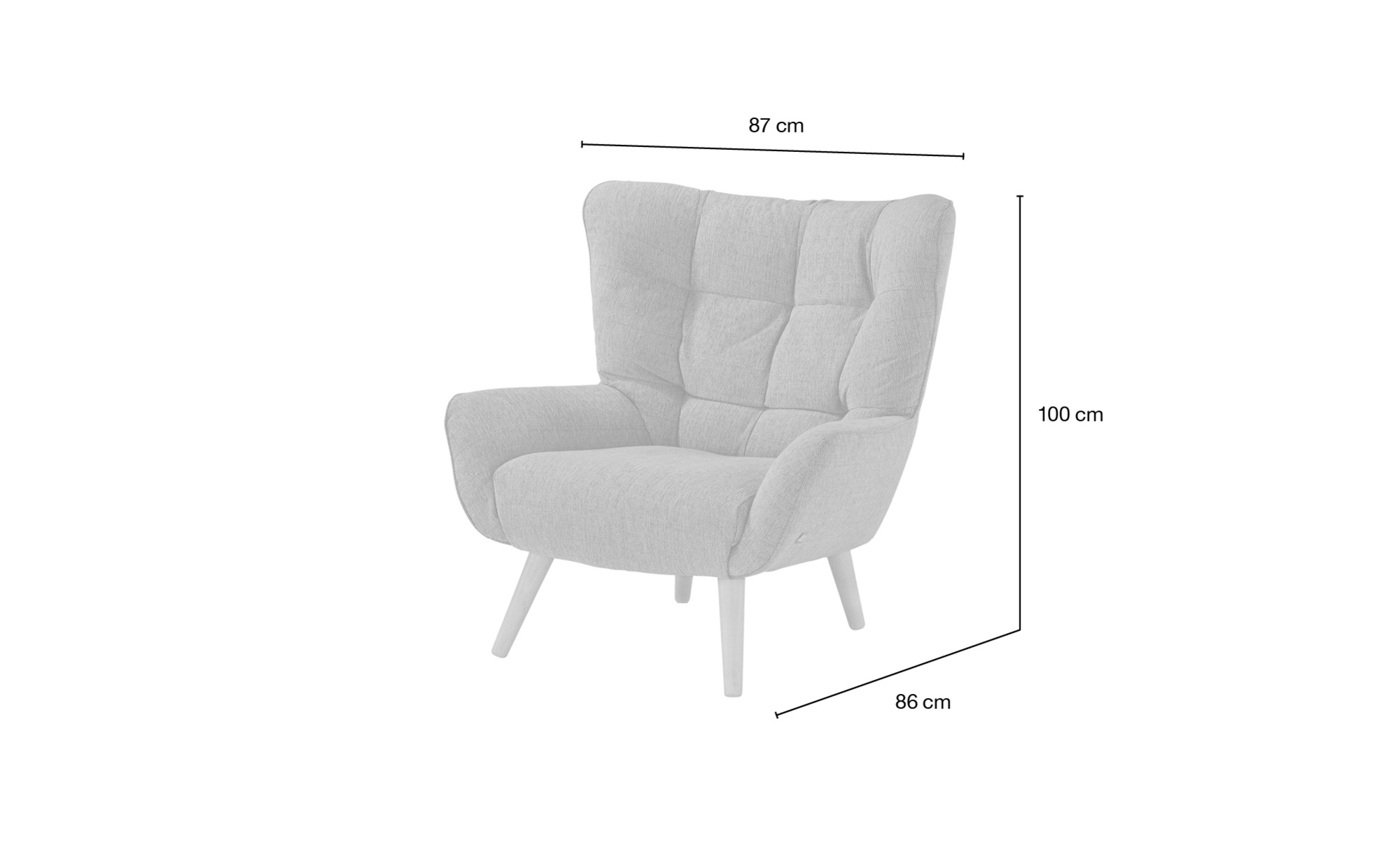 SOHO Polstersessel  Jolyn ¦ grau ¦ Maße (cm): B: 87 H: 100 T: 86 Polstermöbel > Sessel > Ohrensessel - Höffner
